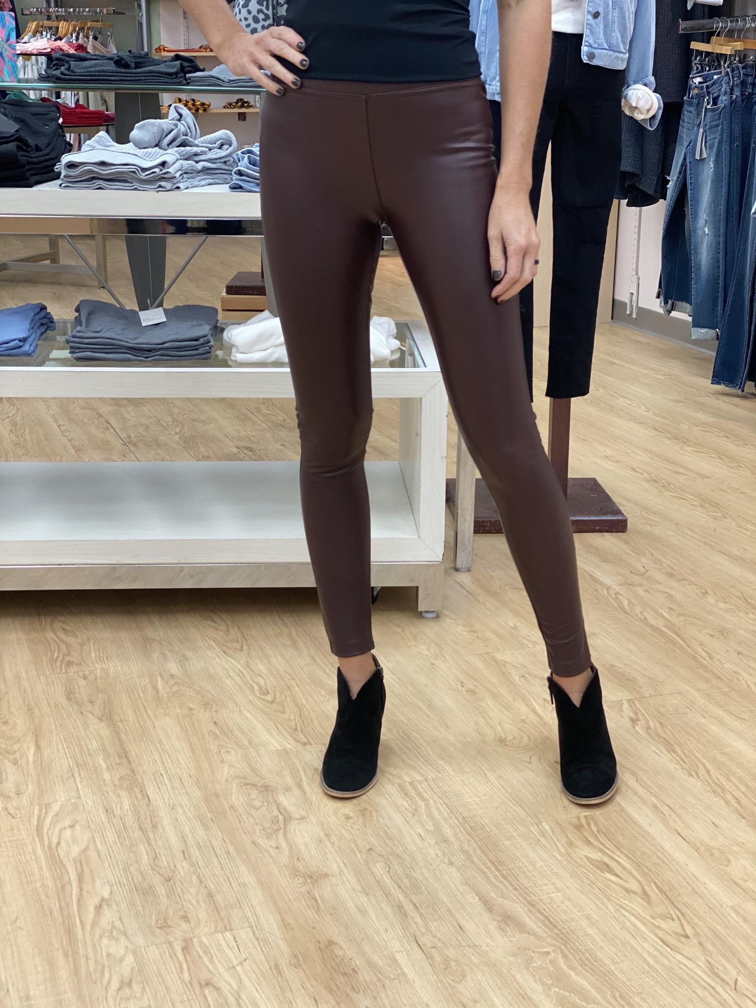 Dex High Waisted Faux  Leather Legging - Bordeaux