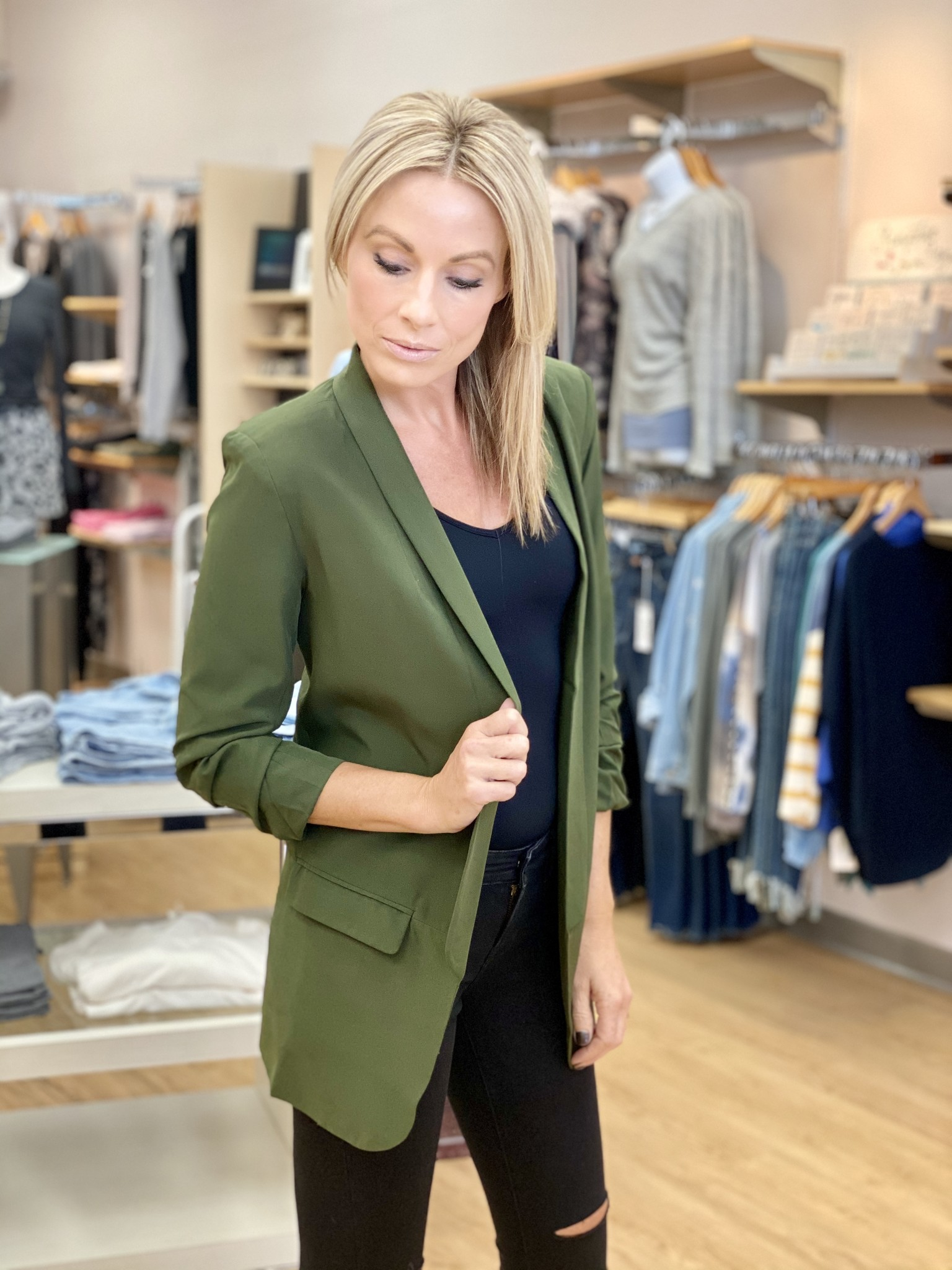 Fate & Fortune Olive Business As Usual Blazer