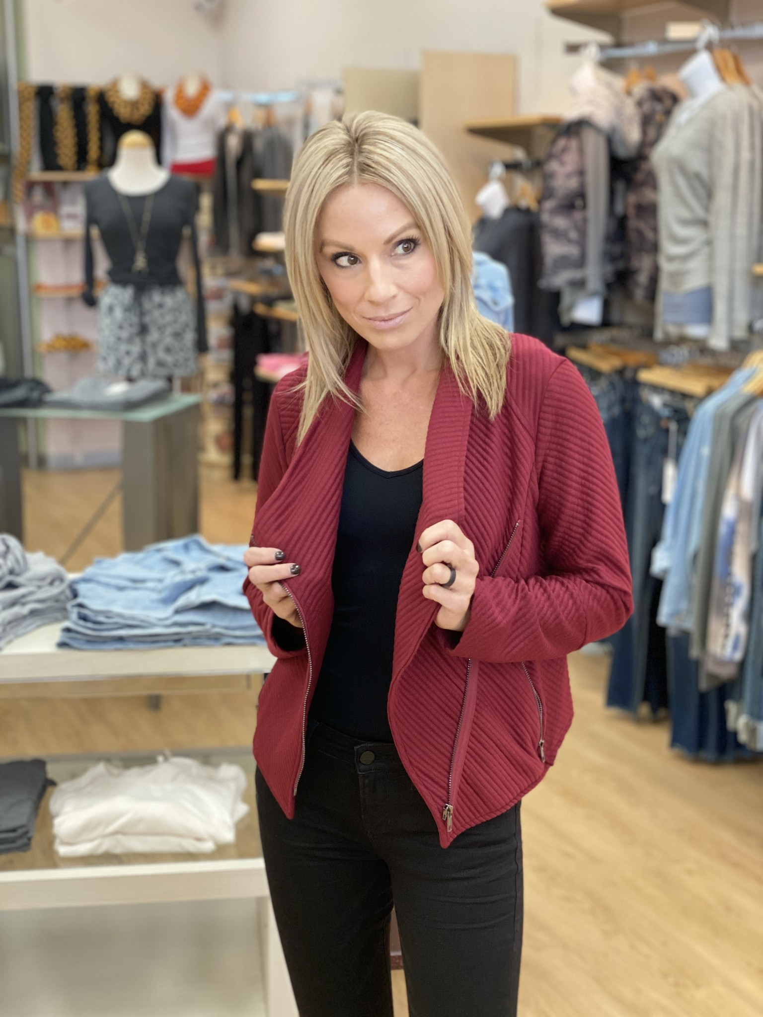 Fate & Fortune Roll With it Ribbed Jacket in Scarlet
