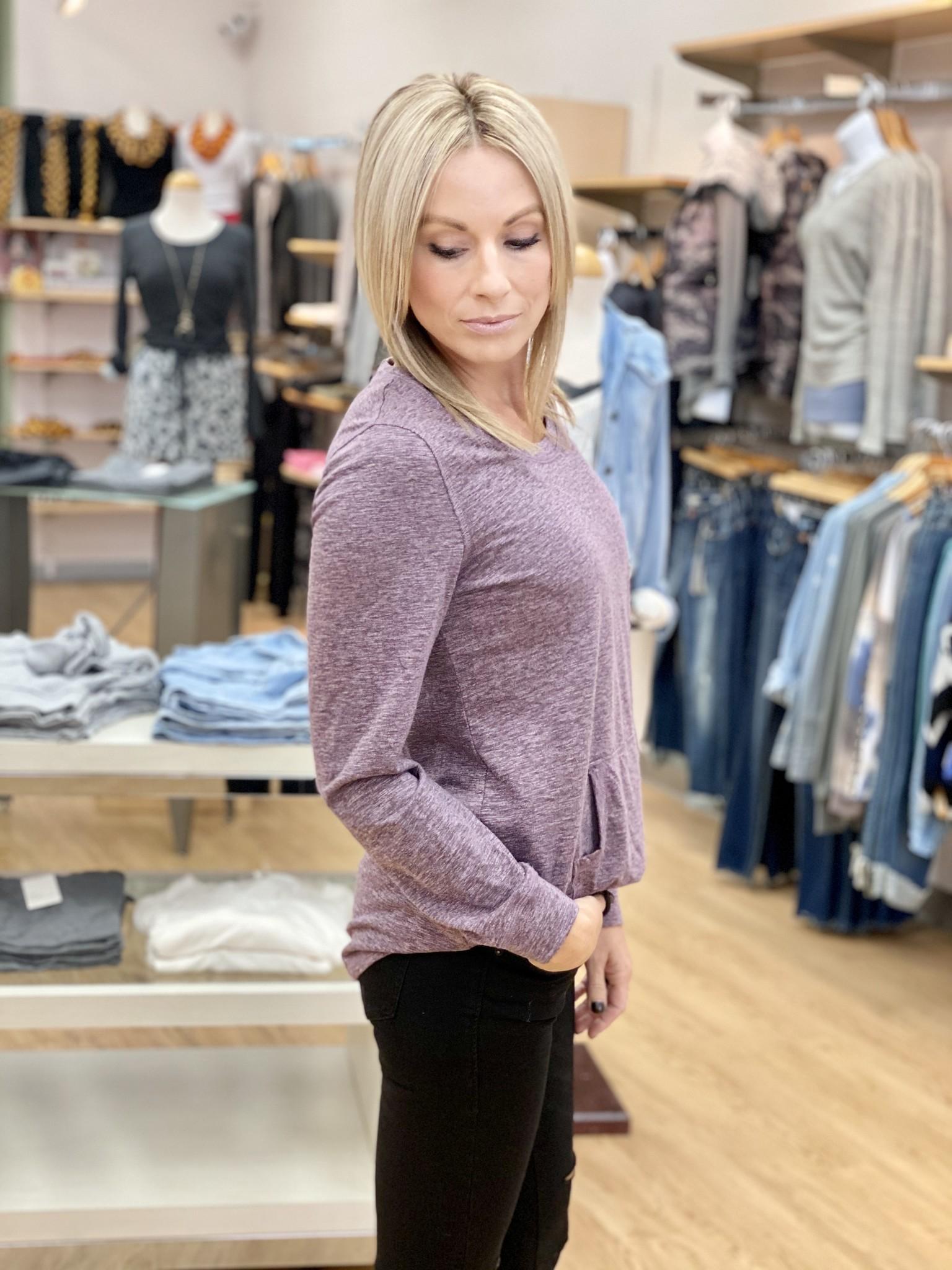 Neesha Purple Kangeroo Pocket Tunic