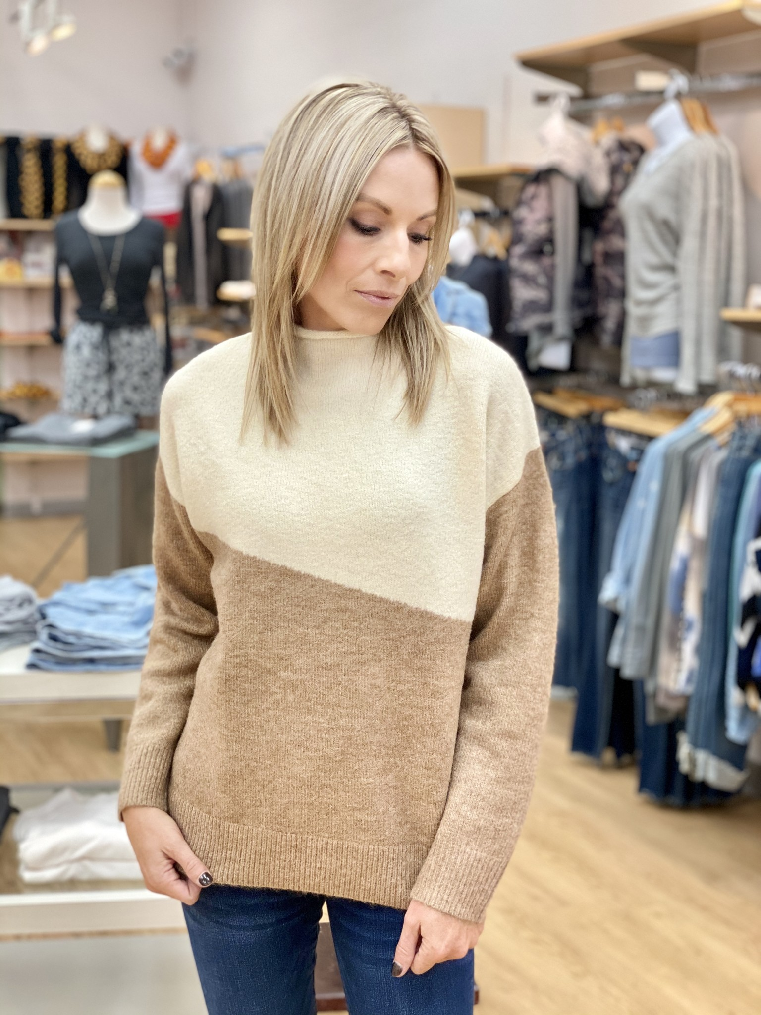 Kerisma Colorblock Sweater in Camel/Ecru