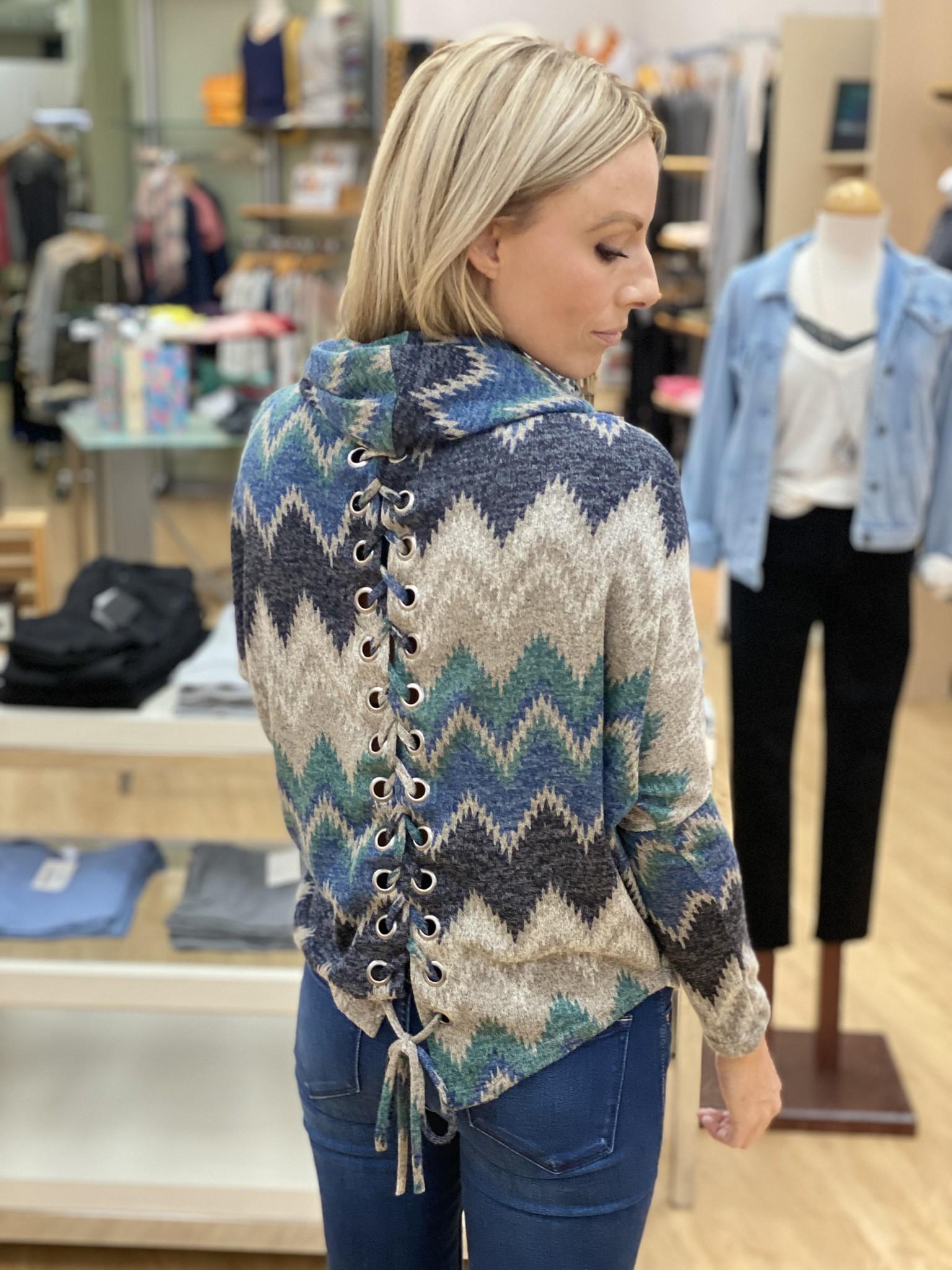Ariella Lace Up Cowl Sweater