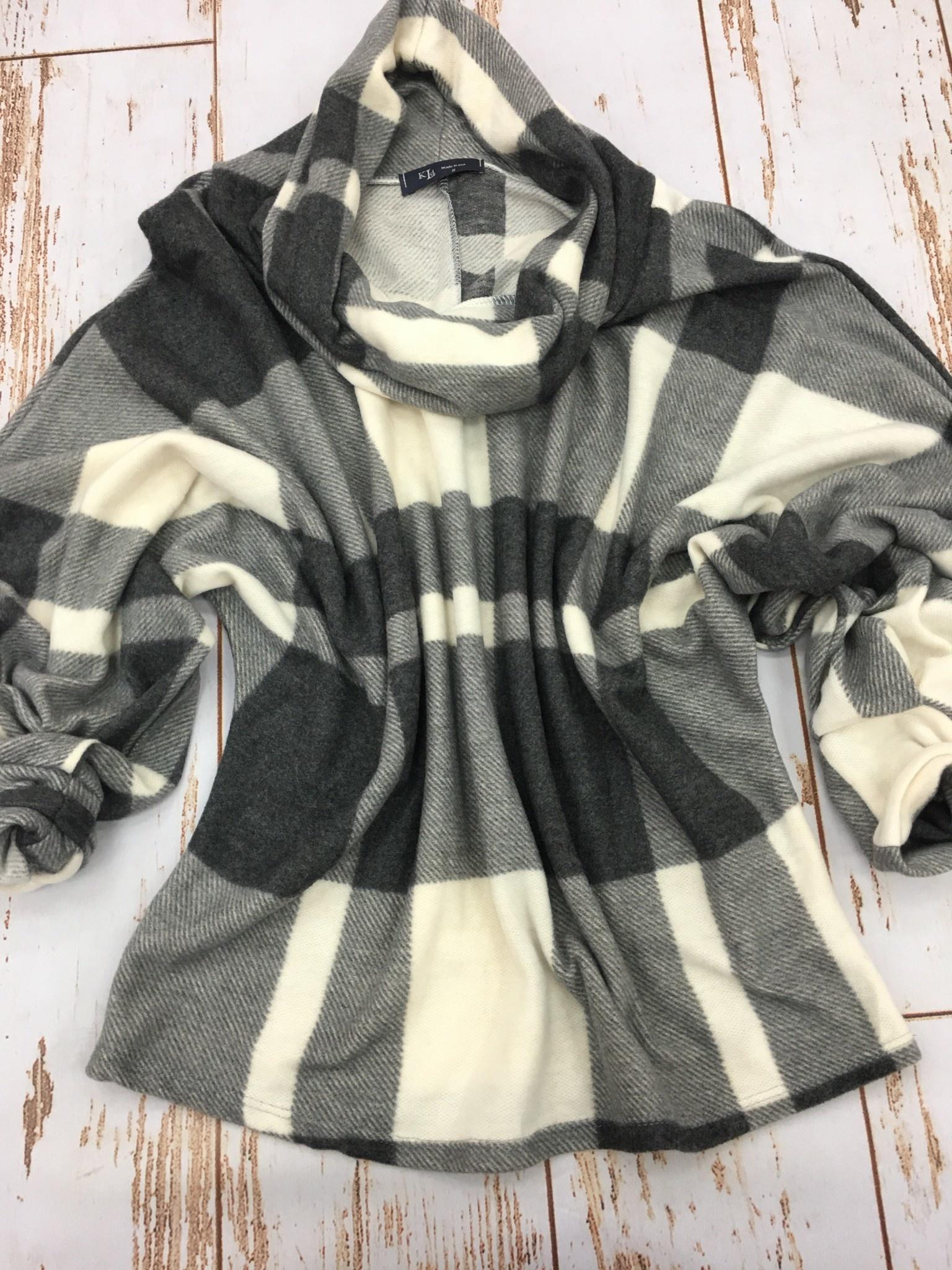 KLD Cowl Neck Plaid Sweater