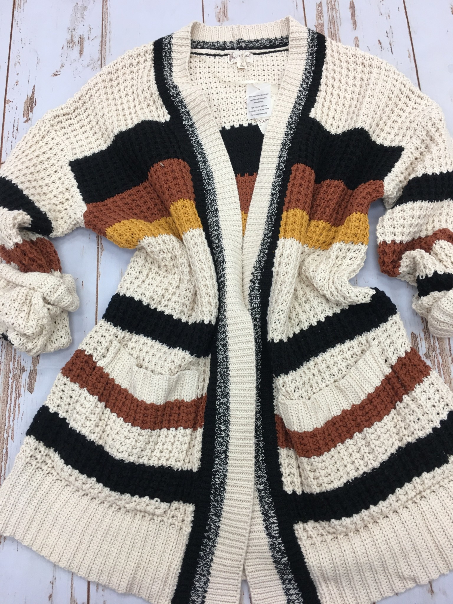 Hem & Thread Chunky Knit Stripe Open Cardigan