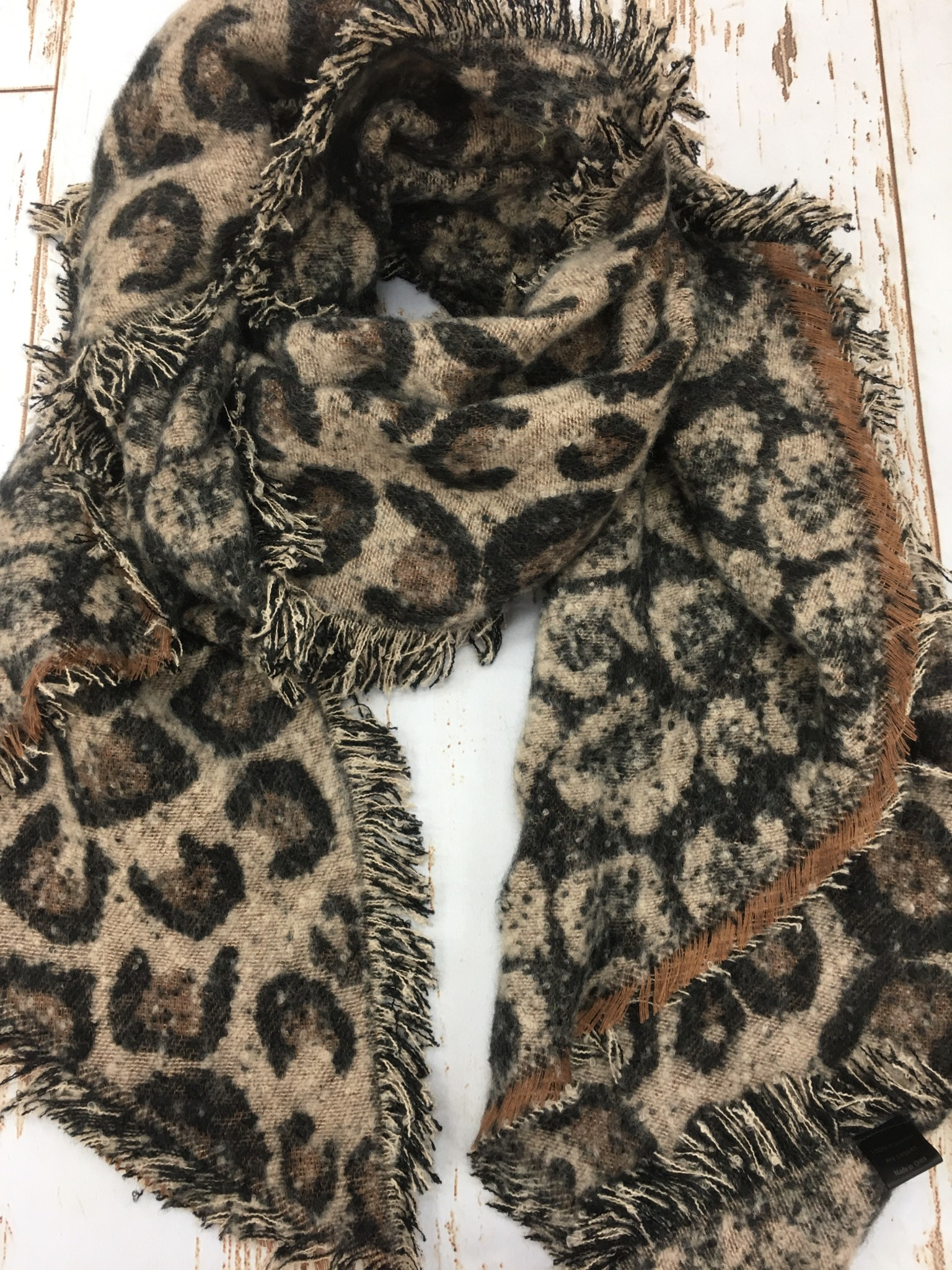 Lou & Co Leopard Scarf/Shawl in Brown