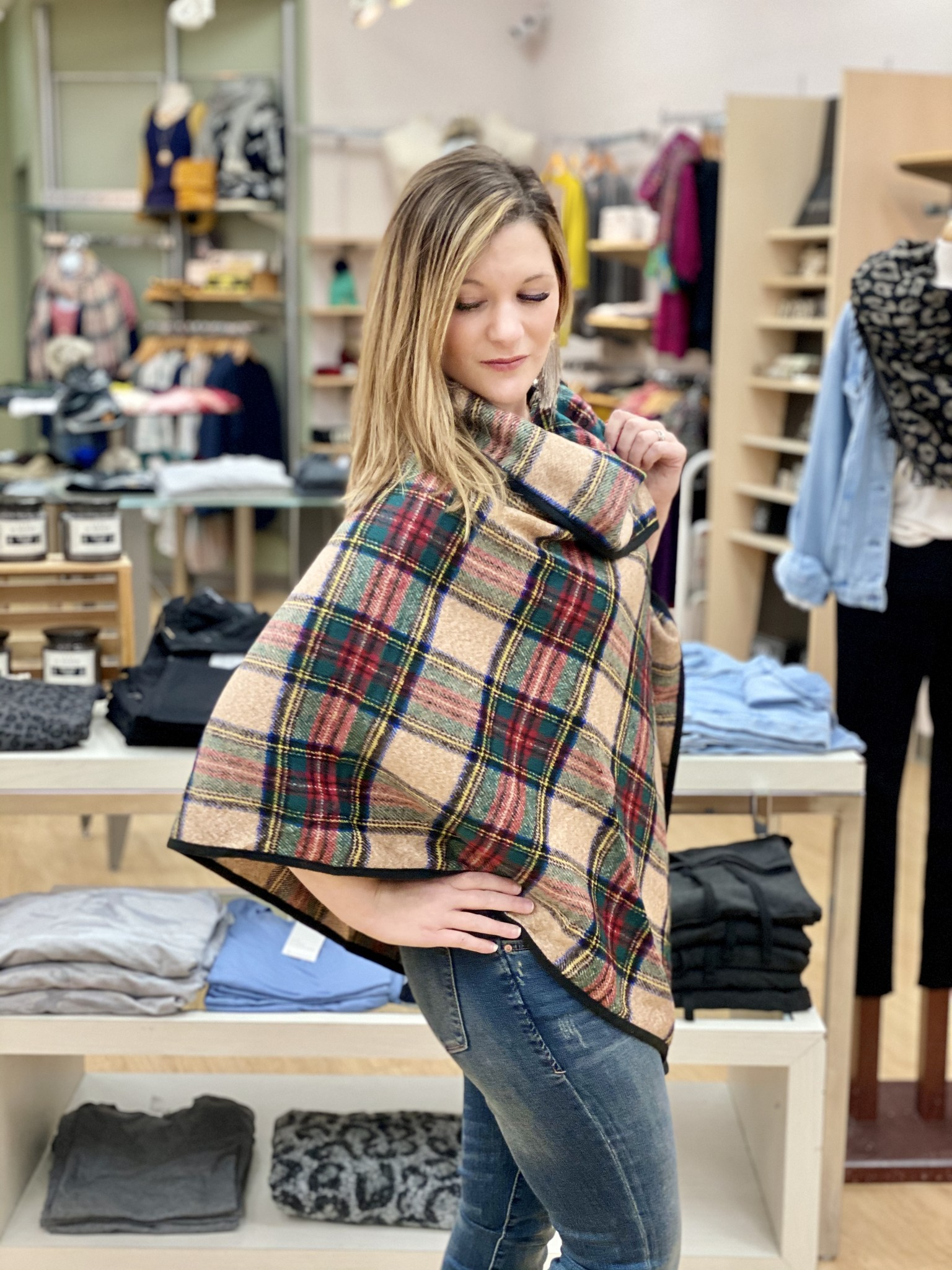 Panache Plaid Cape - One Size