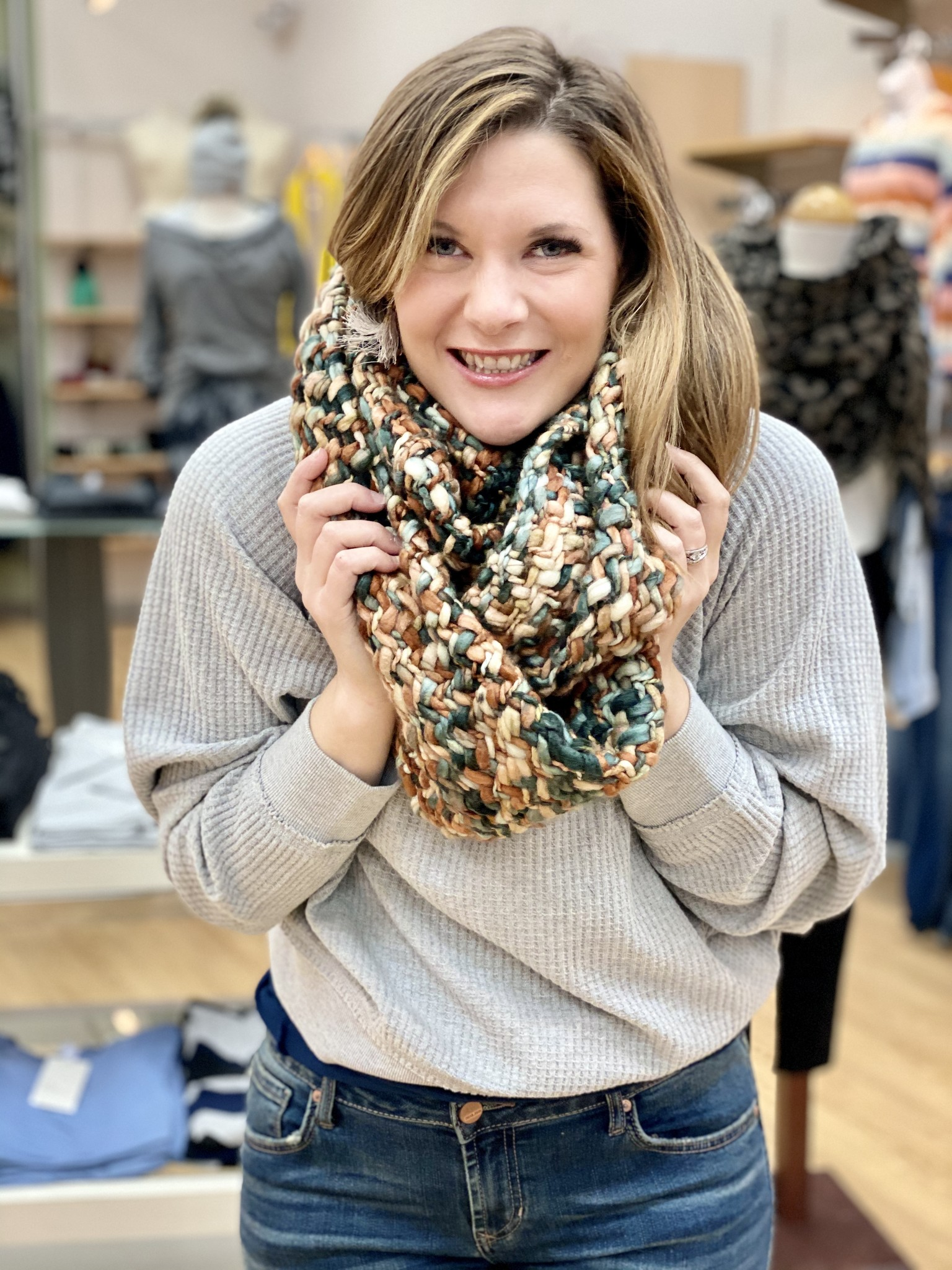 Panache Infinity Chunky Scarf in Teal Multi