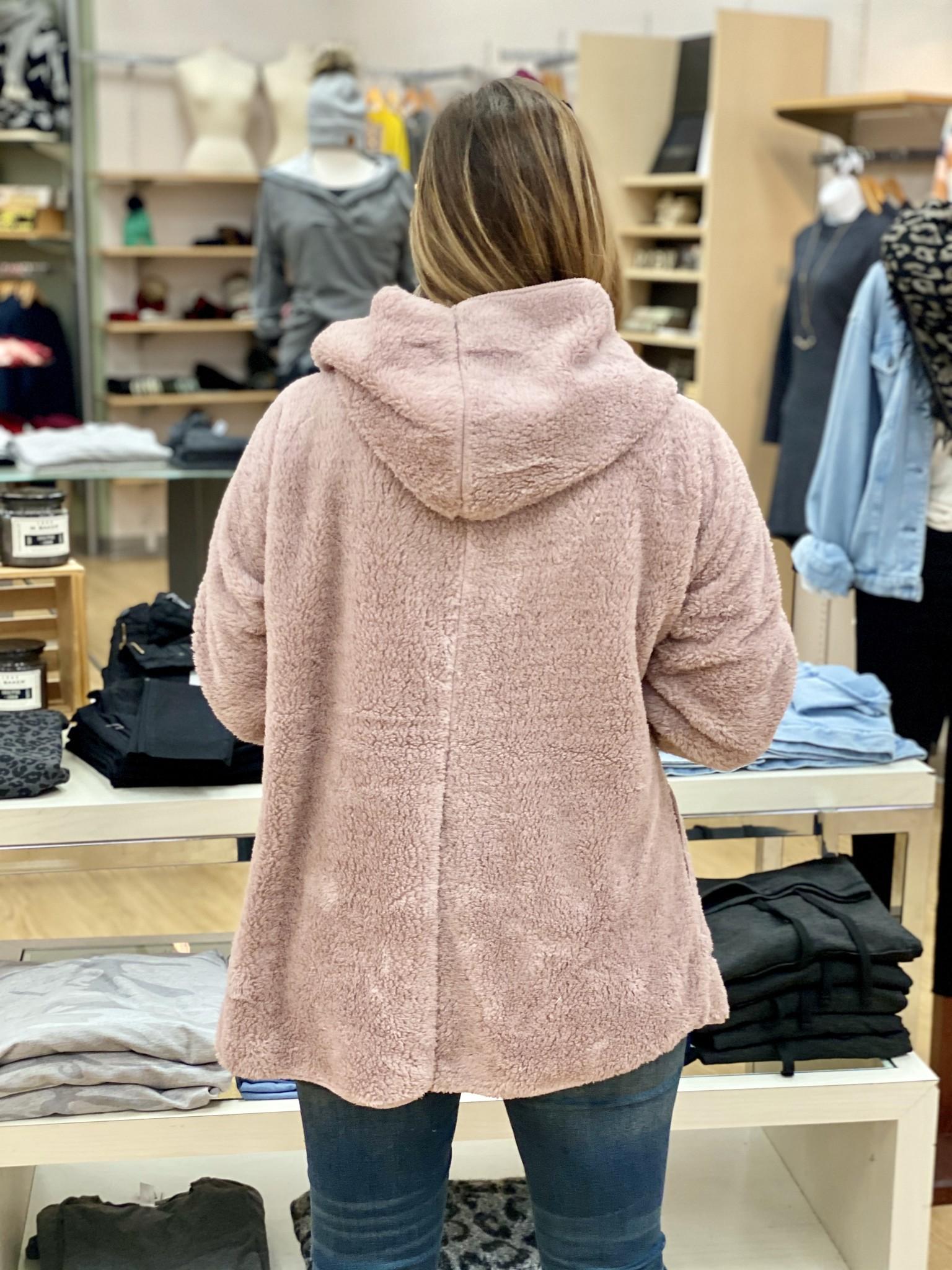 Hem & Thread Faux Fur Open Jacket One Size in Lilac