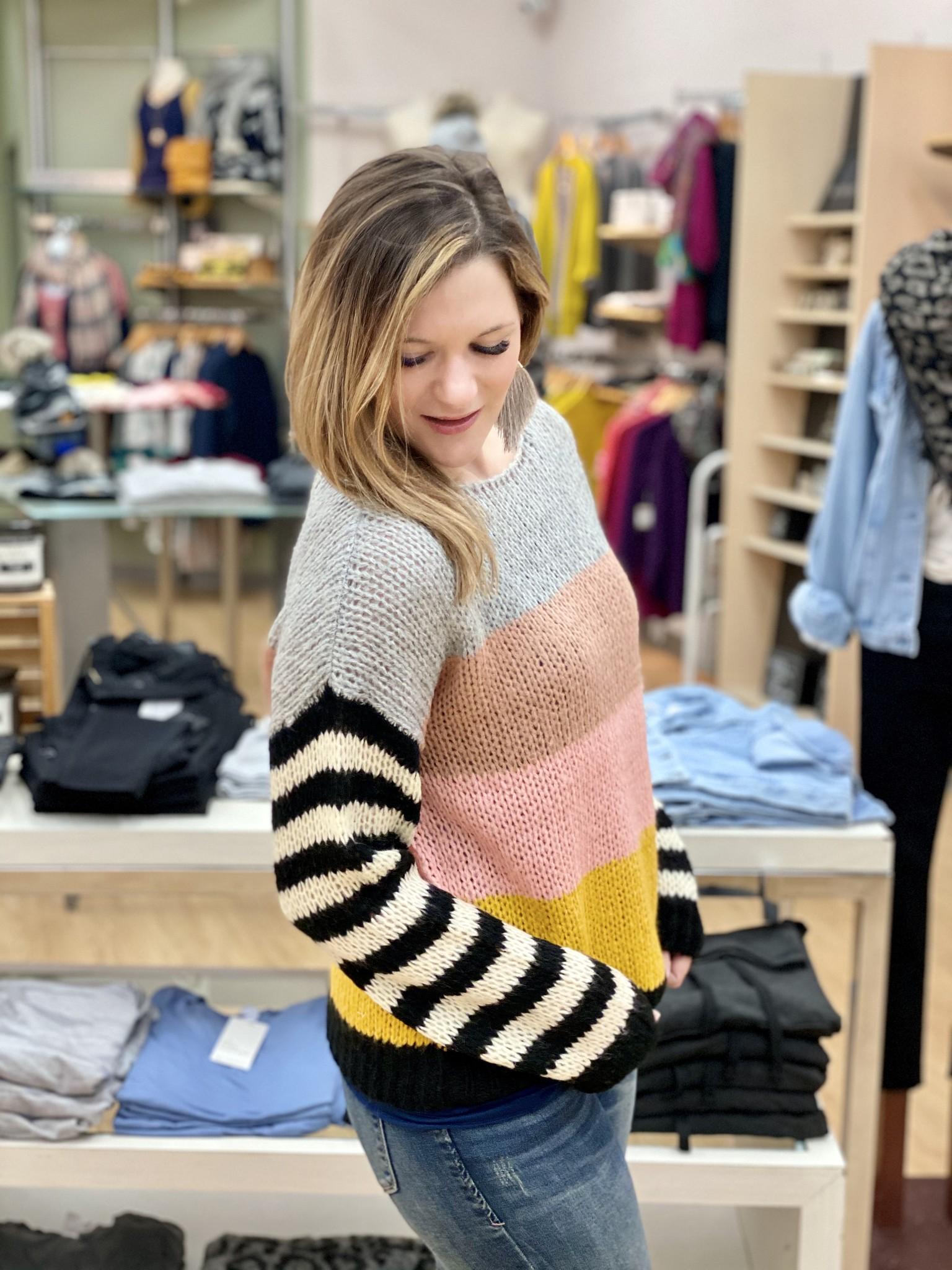 Hem & Thread Blush Multi Stripe Sweater
