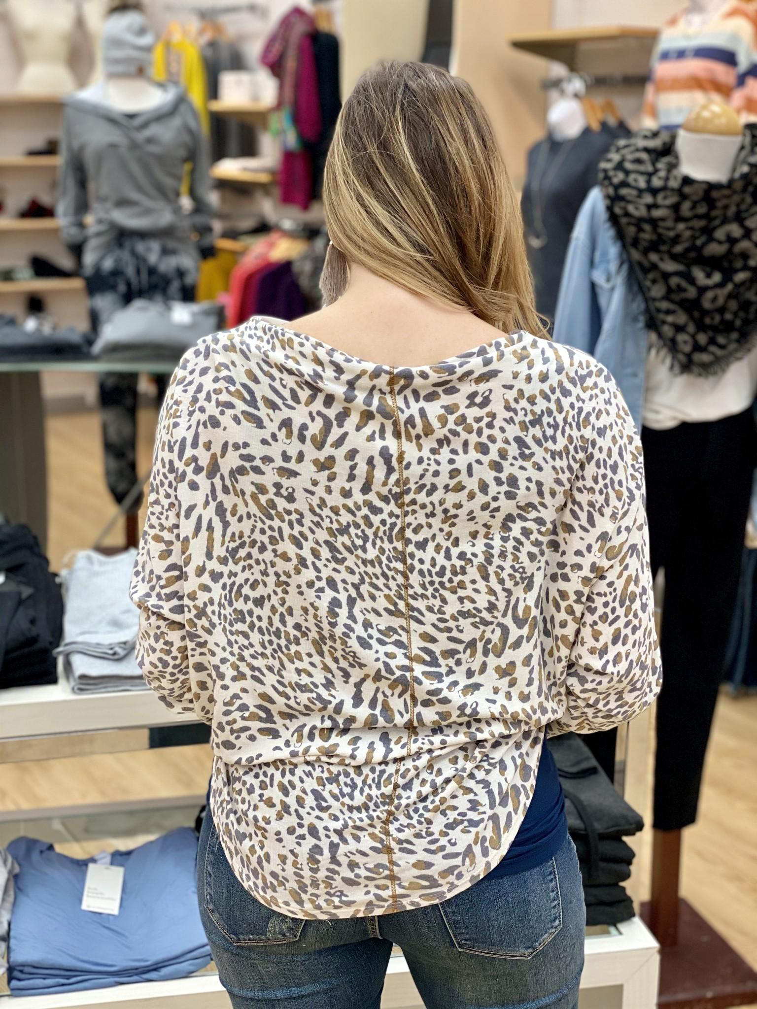 KLD Animal Print Front Tie Top