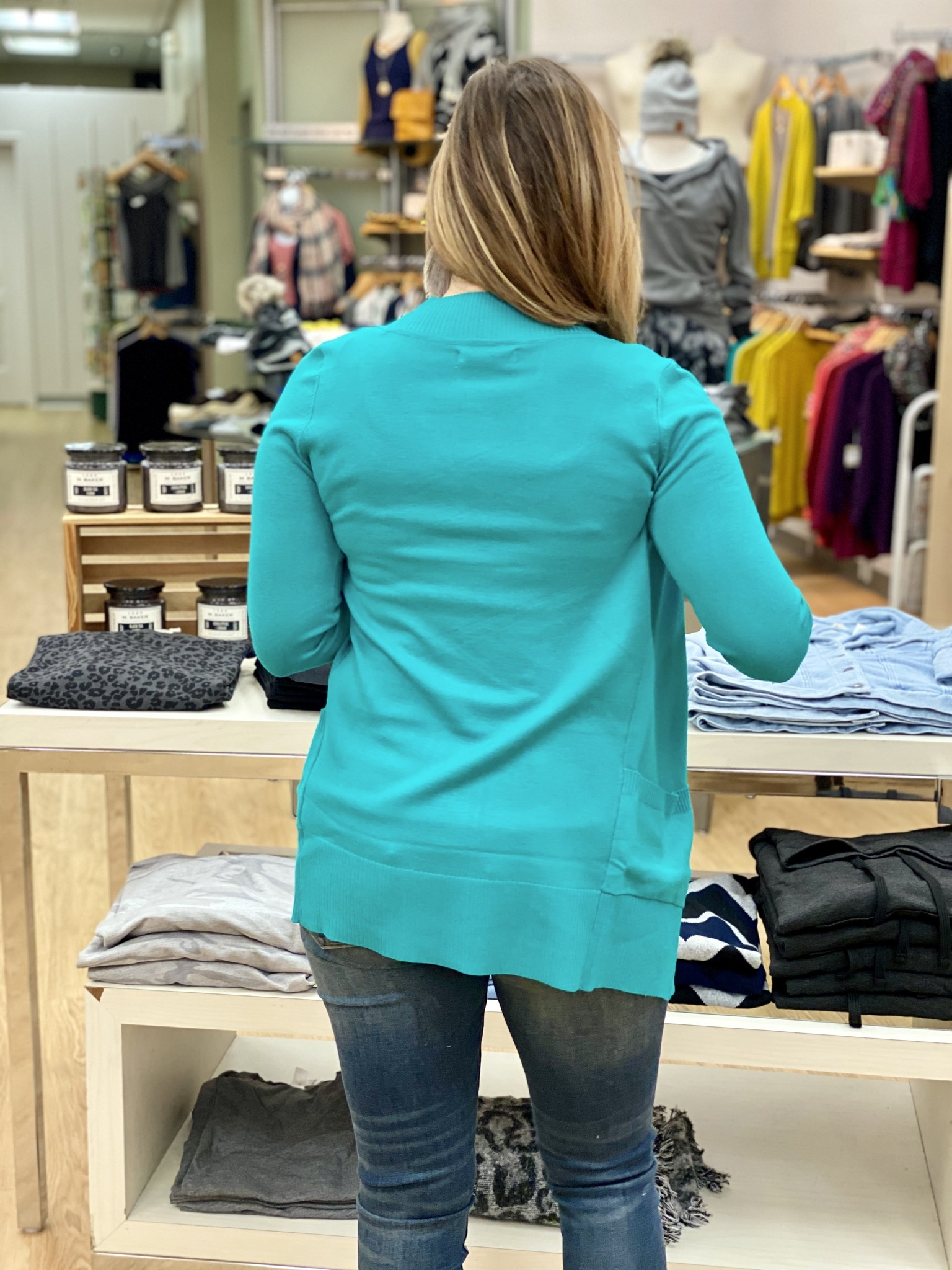 Active Basic Midweight Pocket Cardigan Turquoise