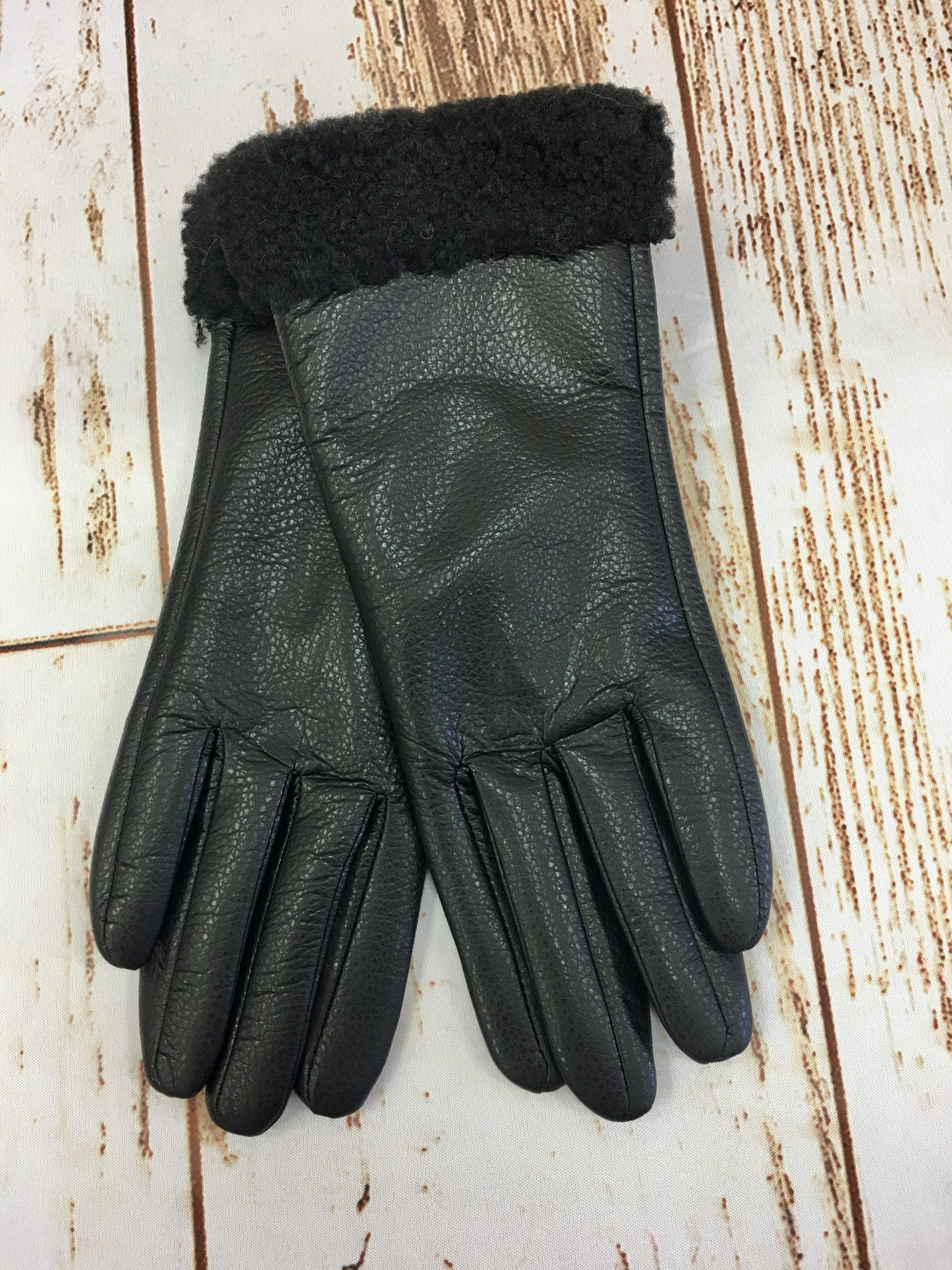 Faux Leather Black Gloves