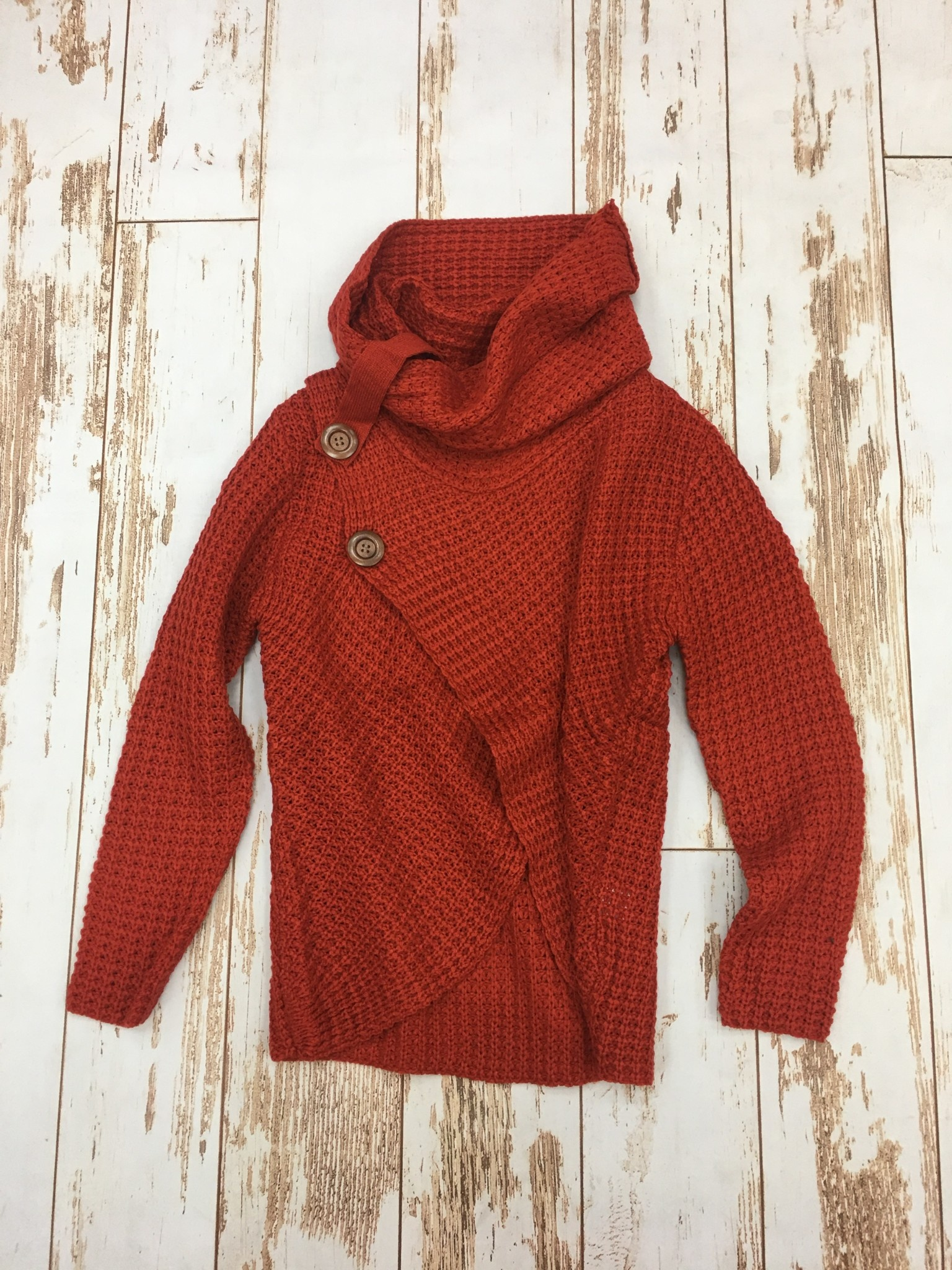 Ashley Clothing Rust Button Crossover Sweater