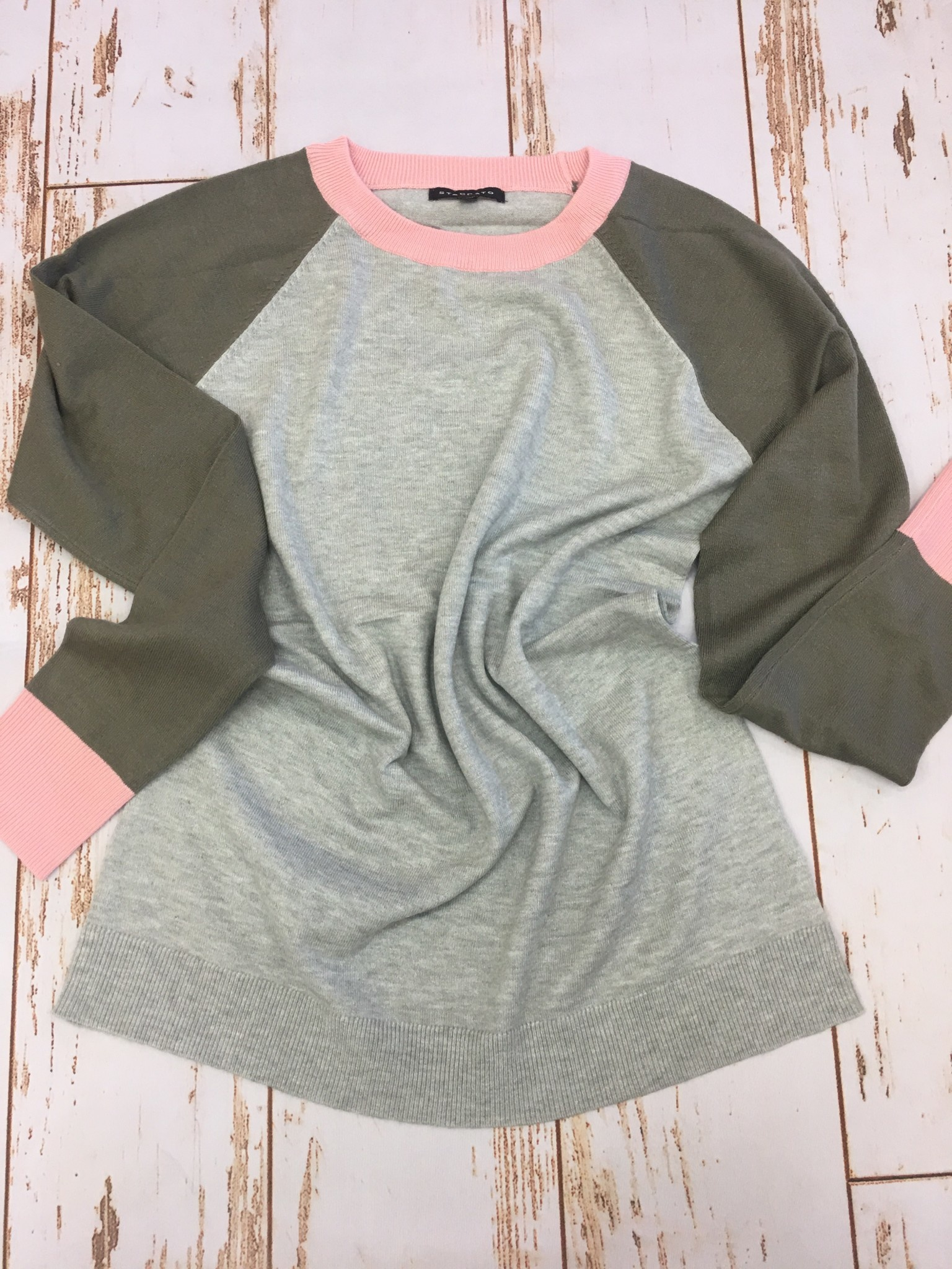 Staccato Color Block Sweater in Heather Grey/Olive