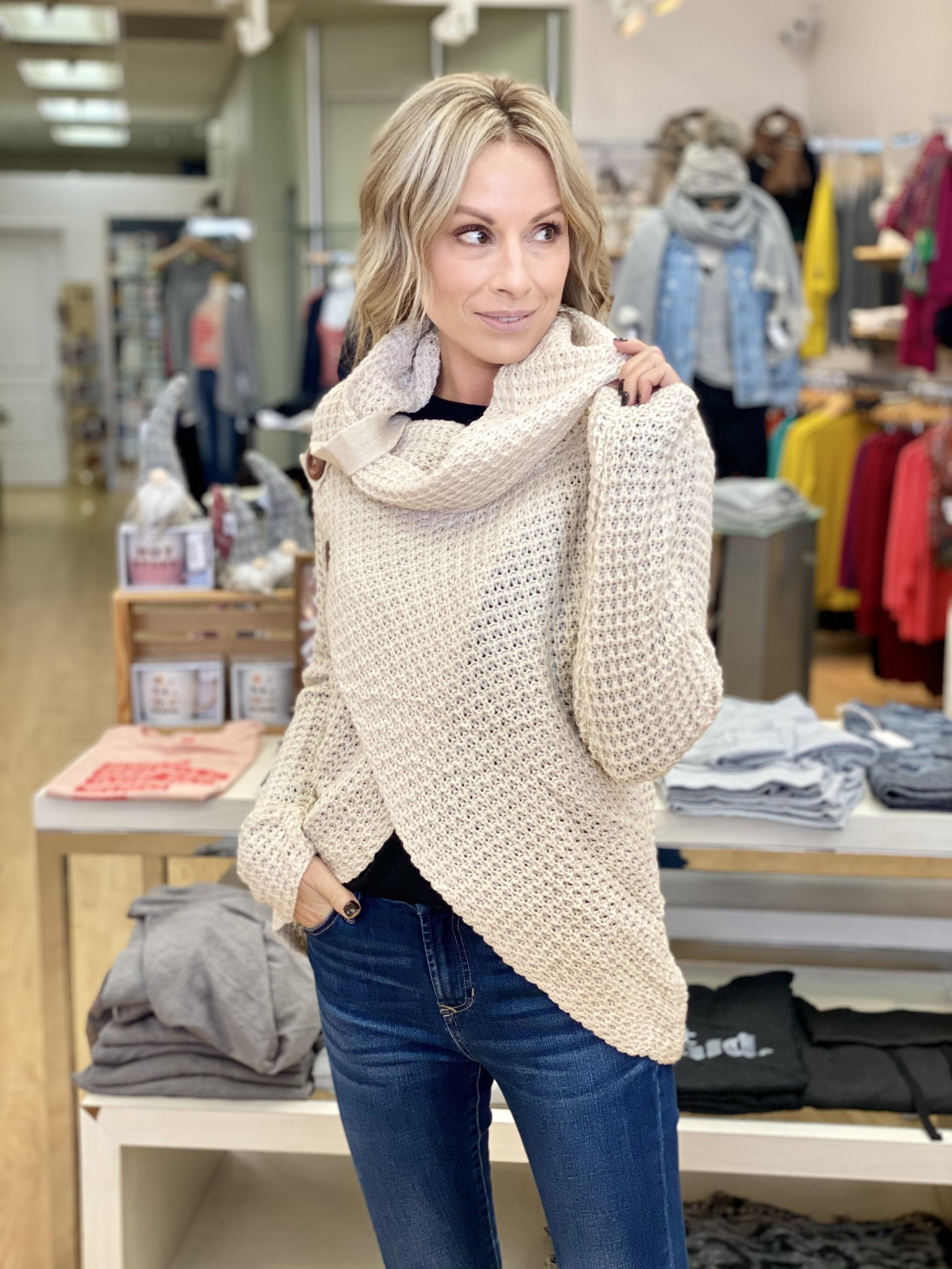 Ashley Clothing Beige Button Crossover Sweater