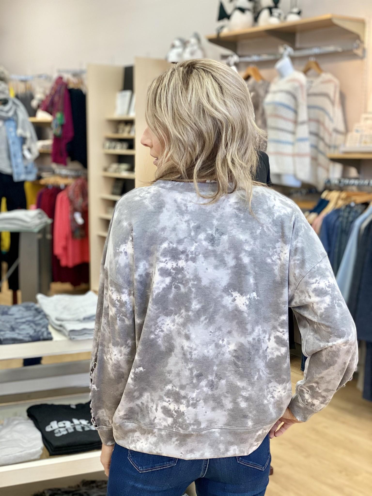 Ariella Rivet Sleeve Detail Tie Dye Pullover