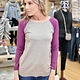 Staccato Color Block Sweater in Heather Grey/Orchid