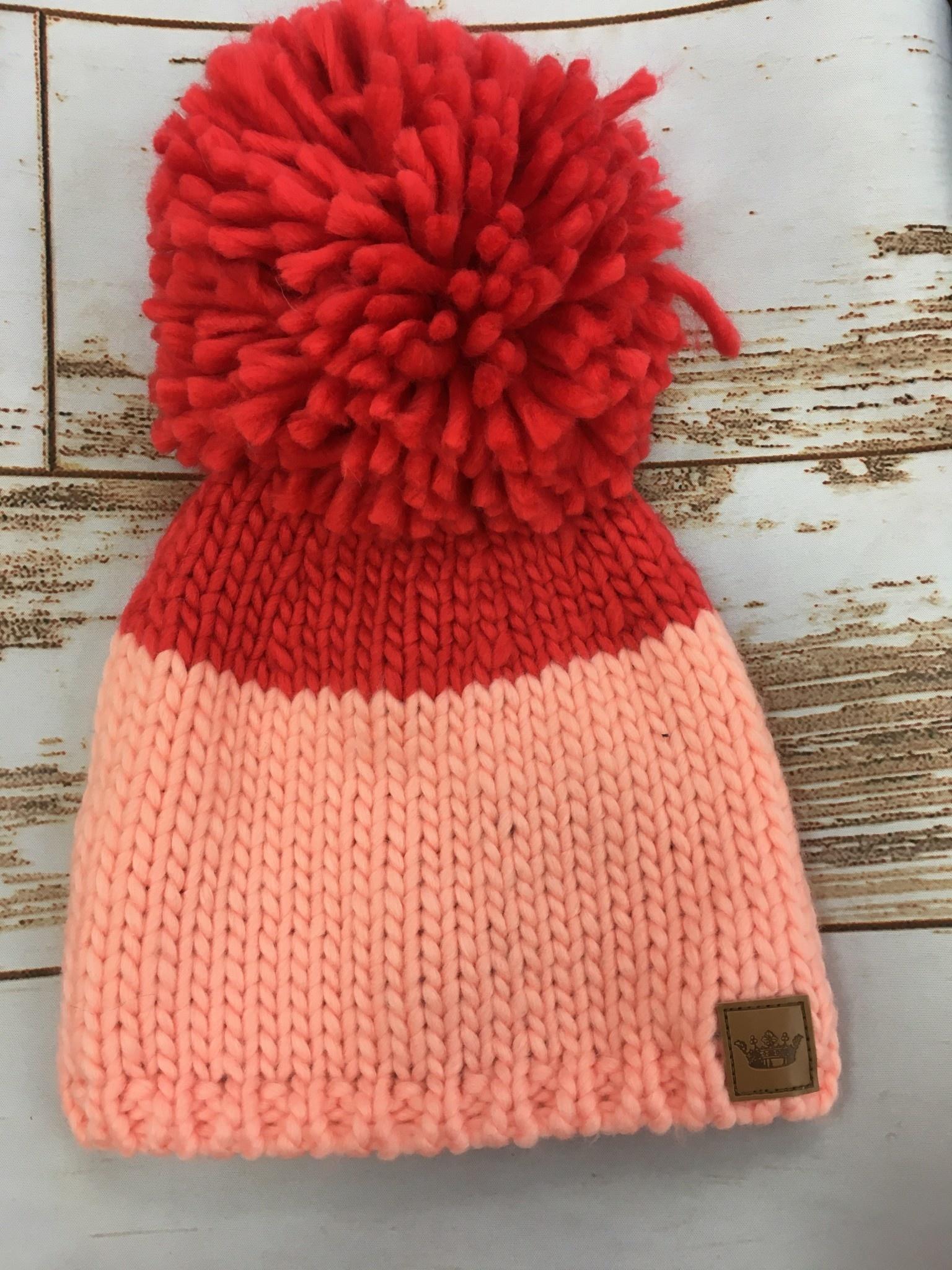 Panache Pink/Red Pom Beanie