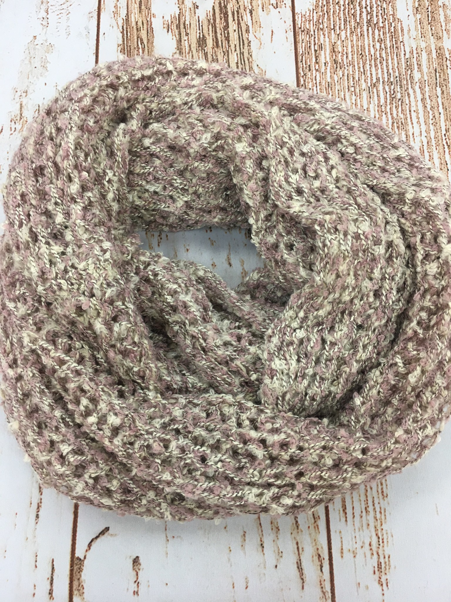 Pink/Cream Speckled Infinity Scarf