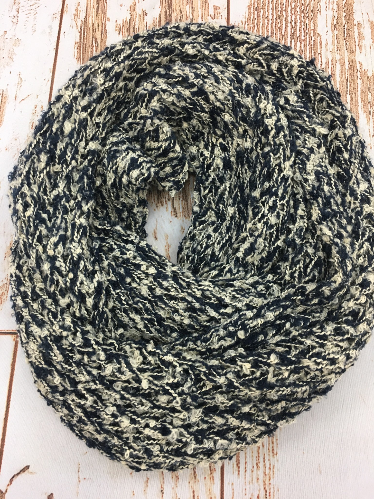 Navy/Cream Speckled Infinity Scarf