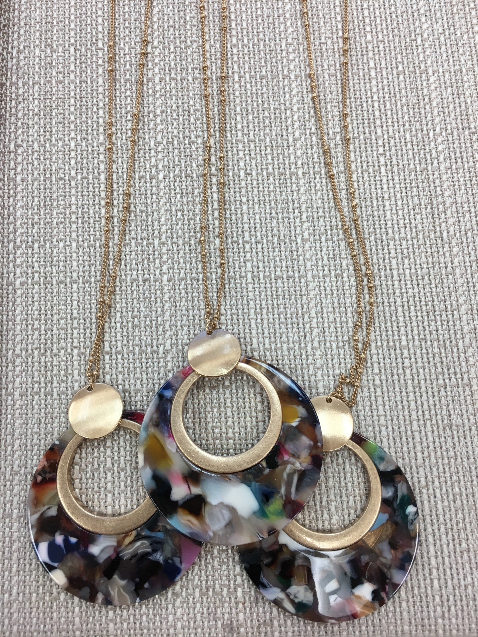 Circle Resin Pendant Necklace in Multi