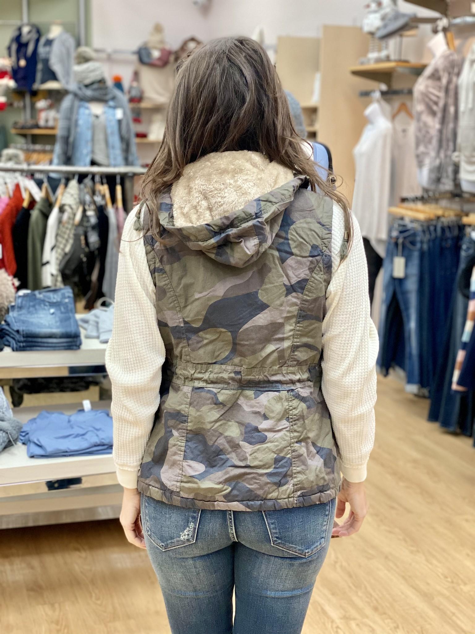 Ashley Clothing Camoflauge Furry on the Inside Vest