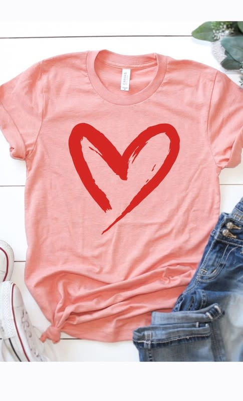 Kissed Apparel Red Heart Graphic Tee