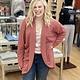 Ashley Clothing Long Waffle Cardigan in Mauve