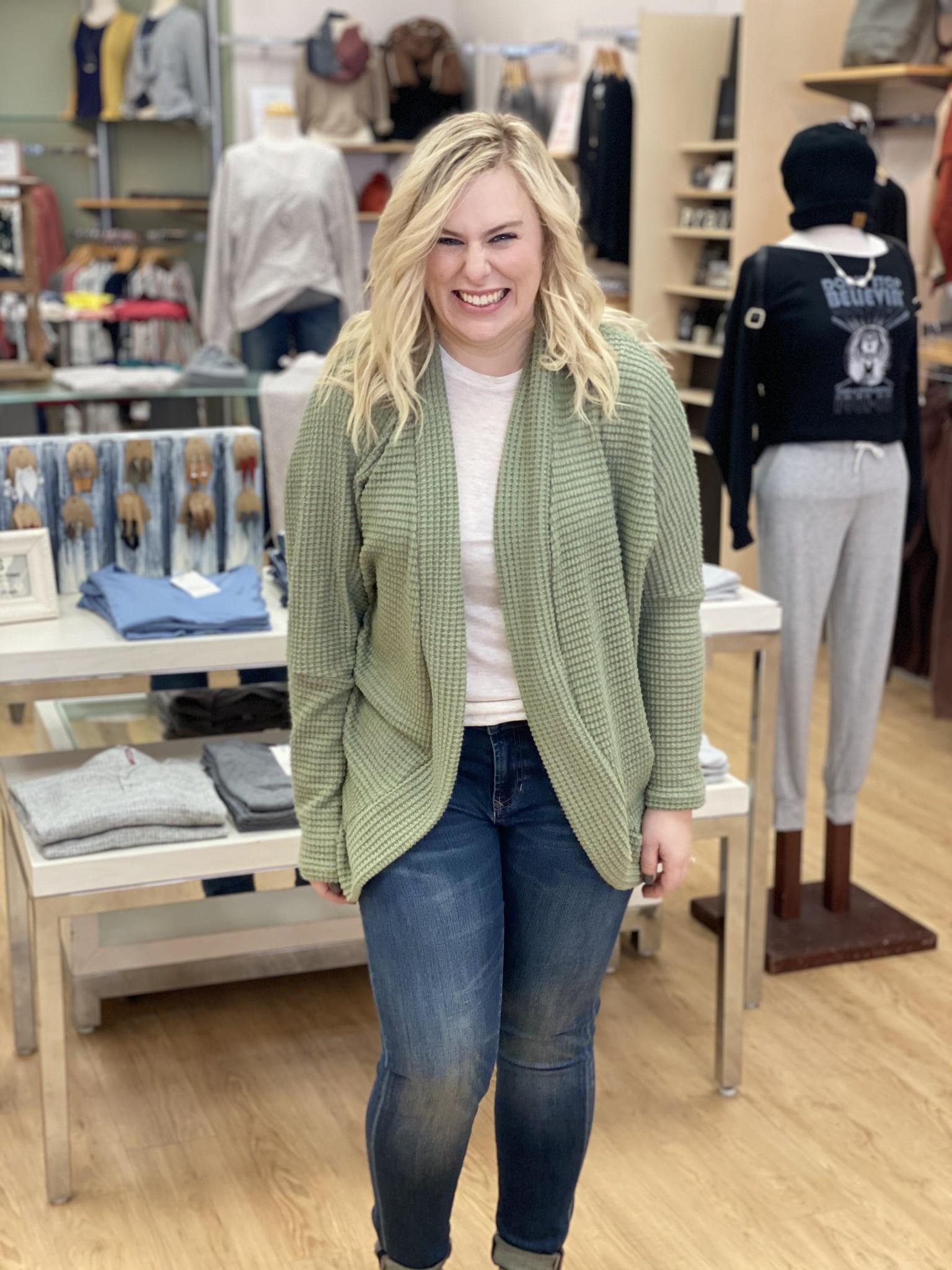 Ashley Clothing Long Waffle Cardigan in Olive