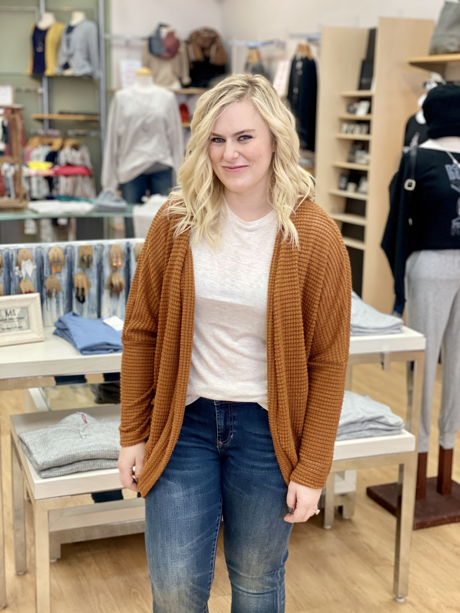 My Story Long Waffle Cardigan in Camel