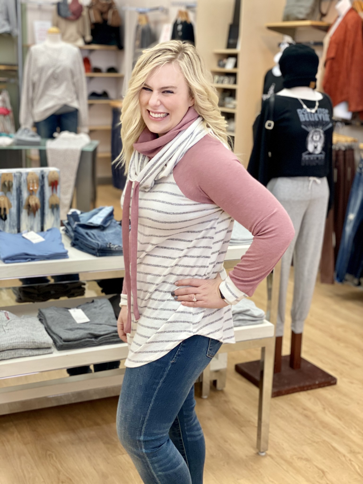 My Story Striped Cowl Neck Sweater in Mauve