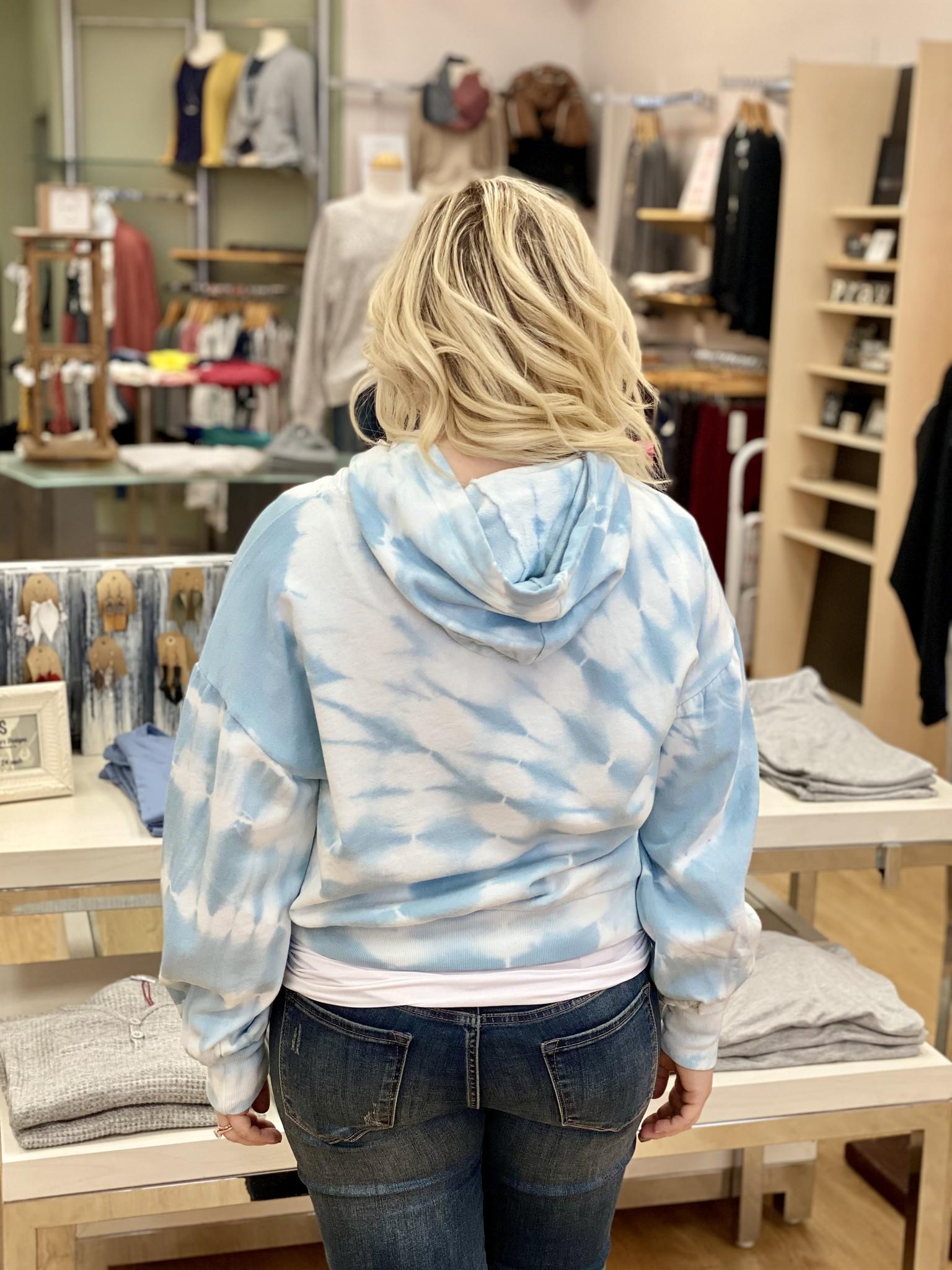 Z Supply Eva Spiral Tie-Dye Hoodie in Blue Agave