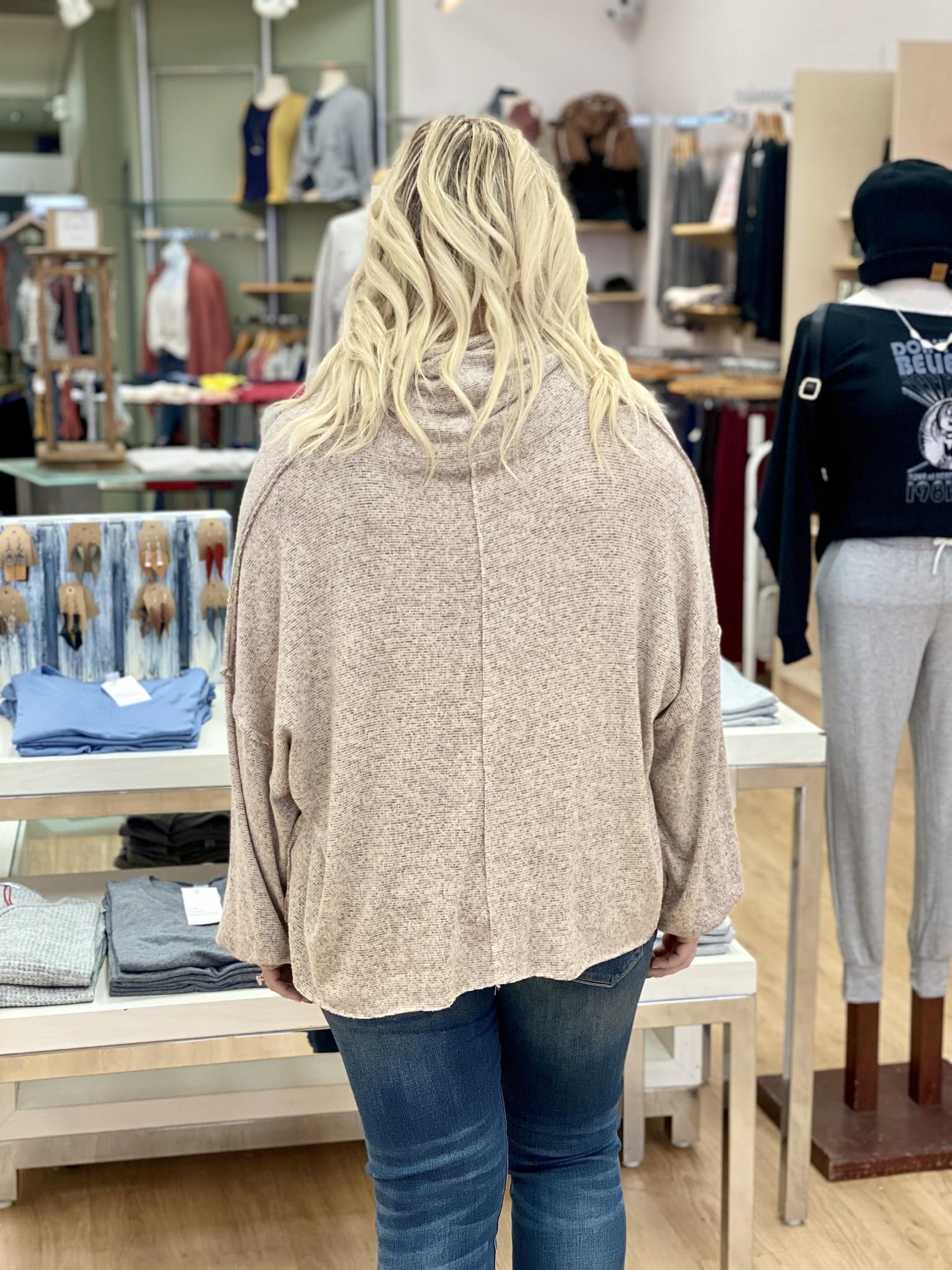 KLD Brushed Jersey Turtleneck Sweater