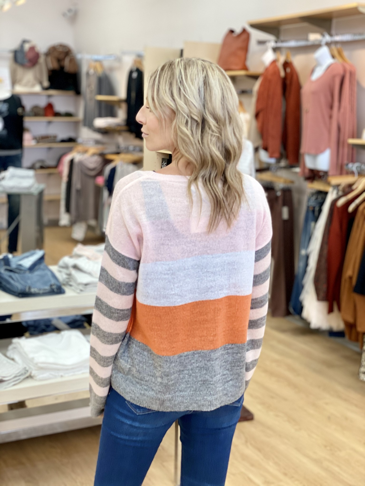 Hem & Thread Multi Stripe Sweater in Pink/Orange/Grey