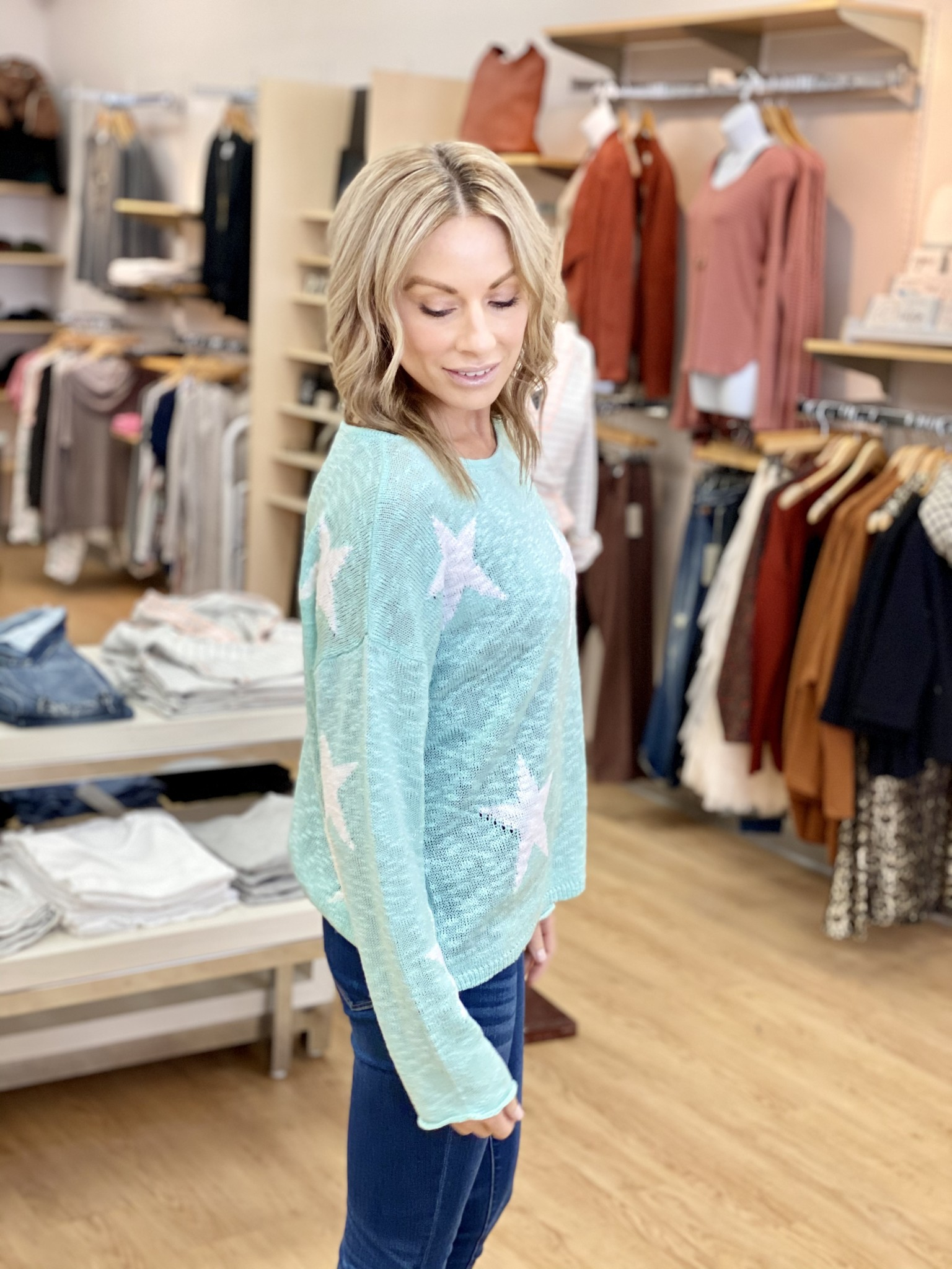 Hem & Thread Mint/Ivory Star Sweater