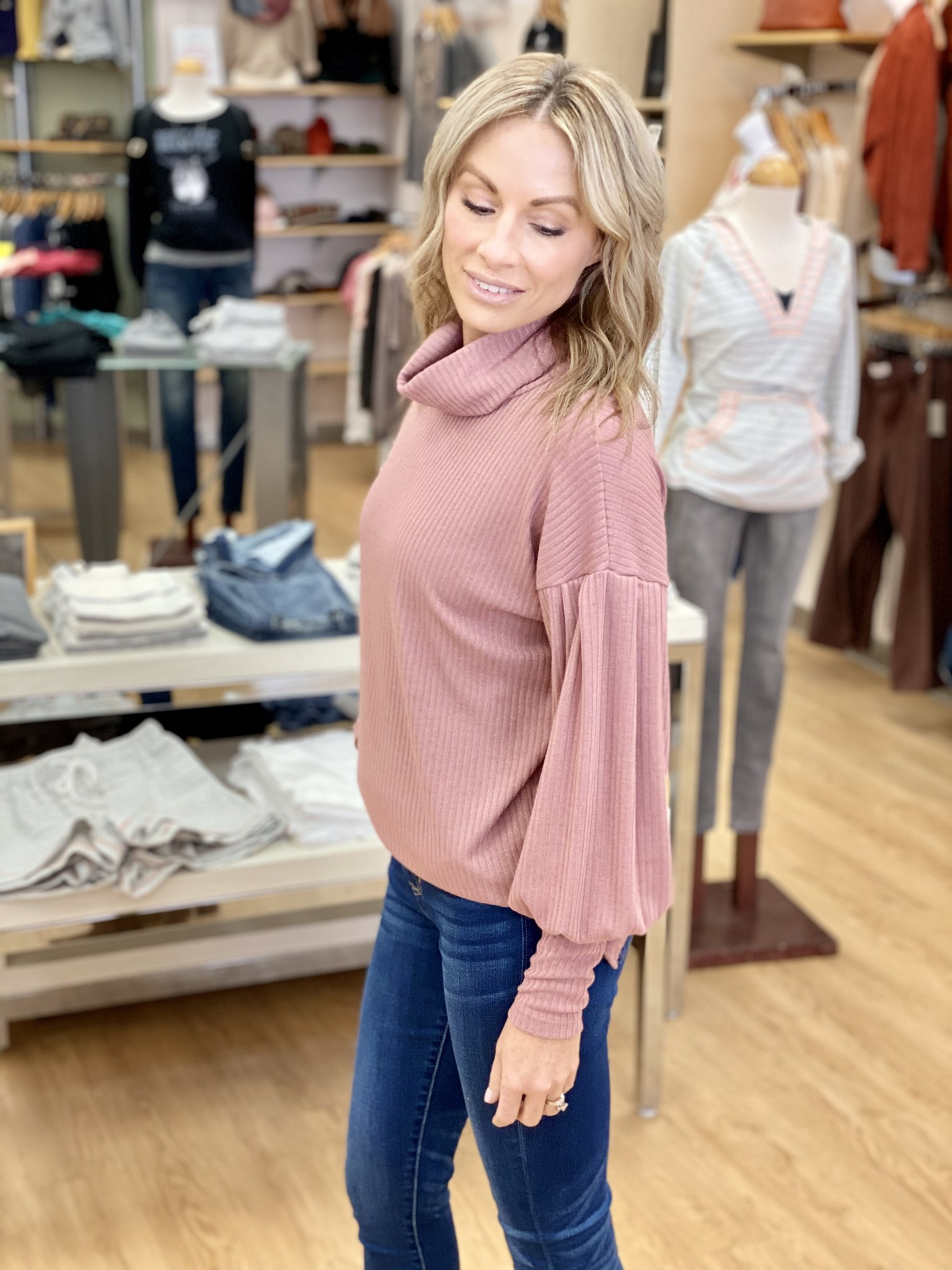 My Story Ribbed Turtleneck Sweater in Mauve