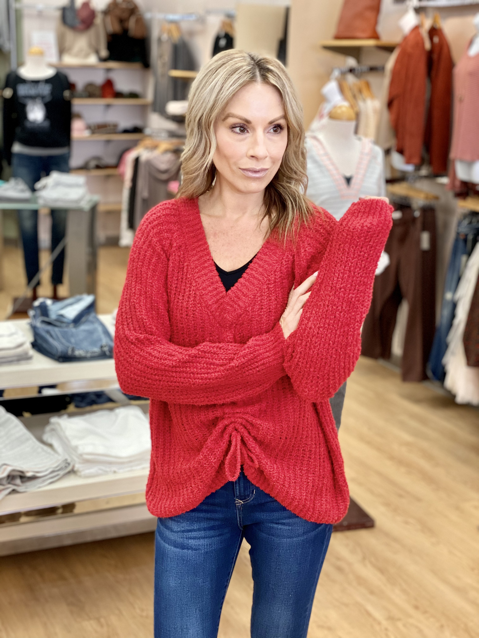 Ashley Clothing Front Tie  Red Knit Sweater