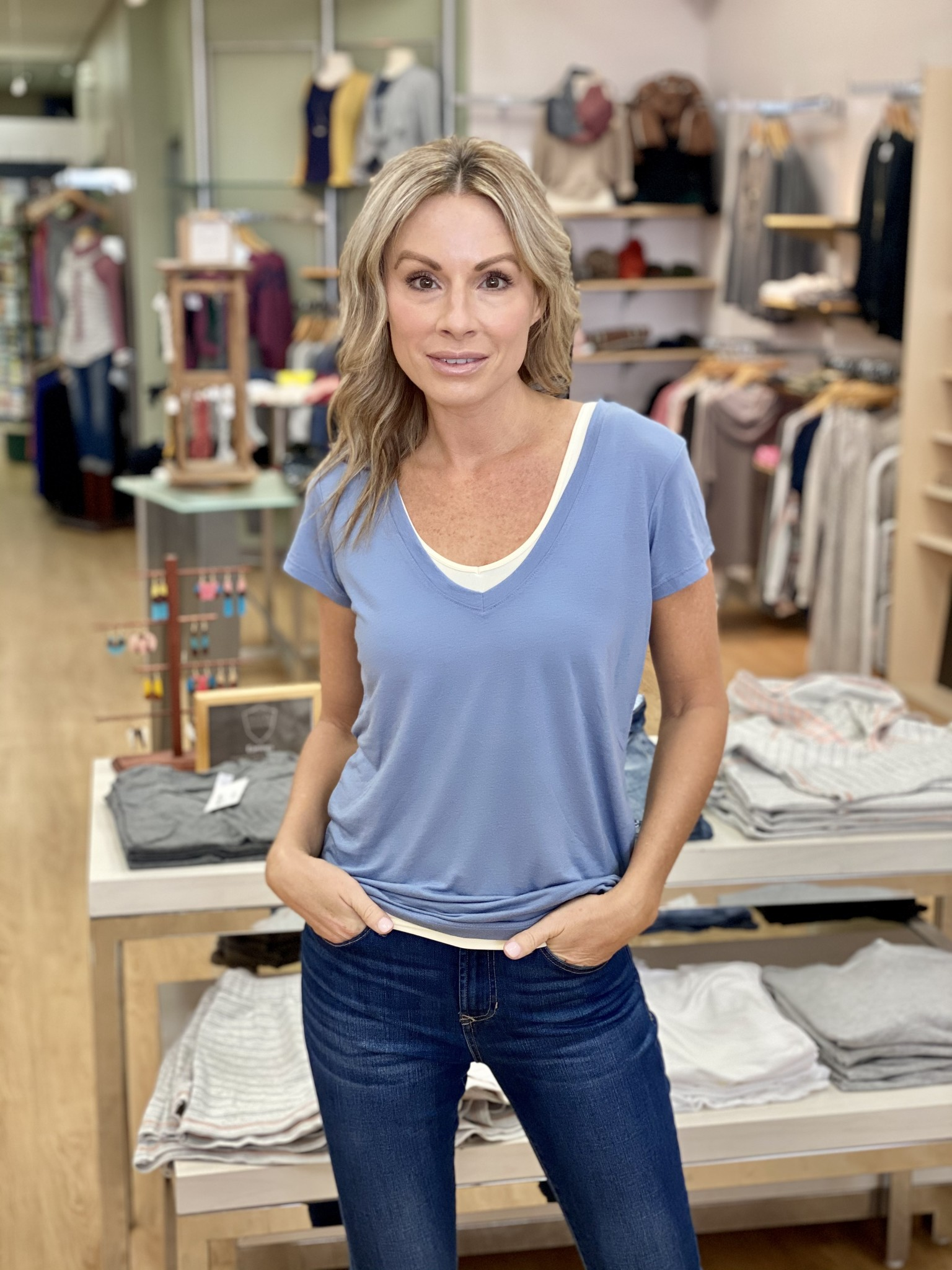 Alternative Slinky Jersey V-Neck T-Shirt Stonewash Blue