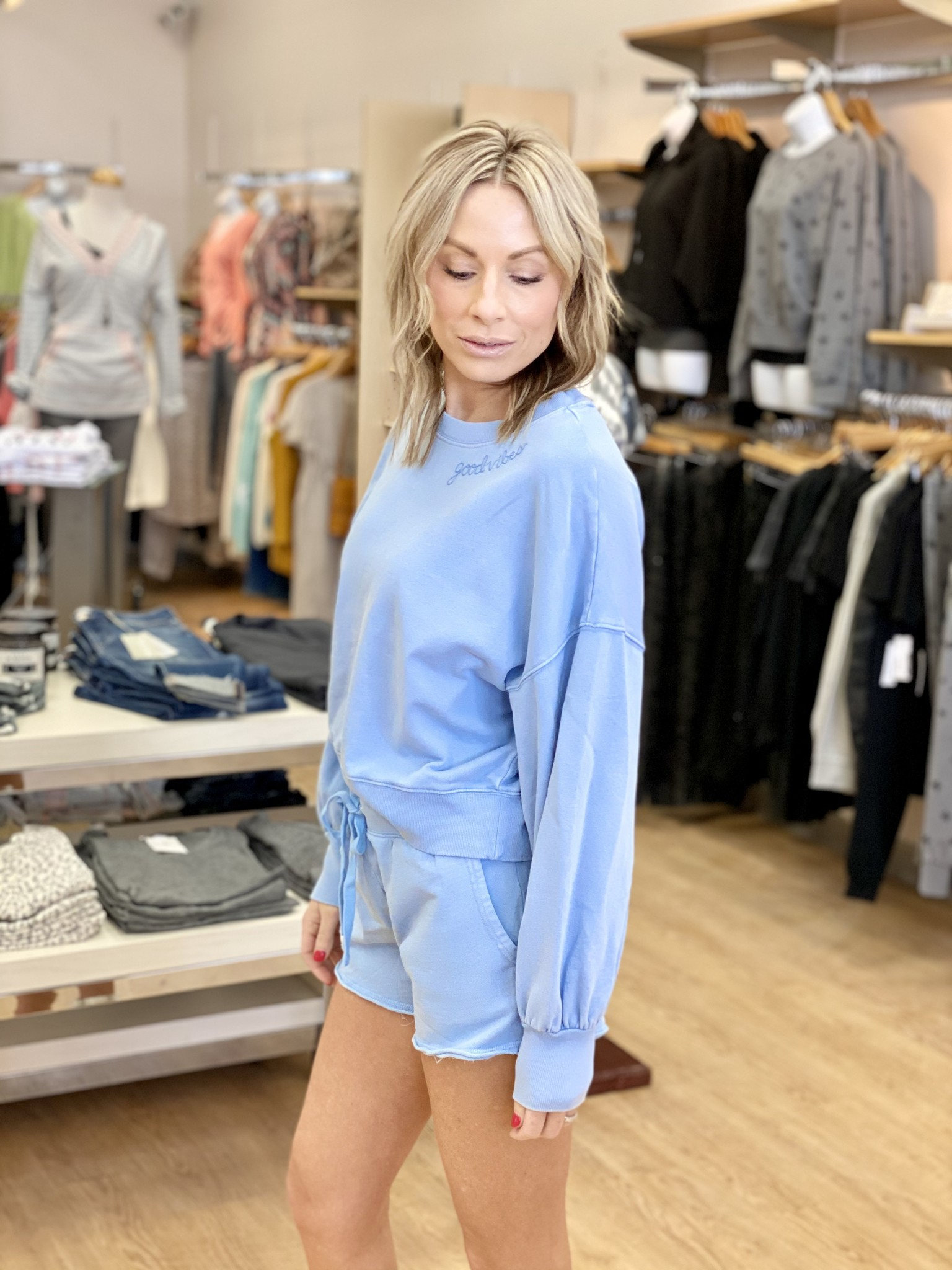 Z Supply Lia Washed Top Good Vibes in Perennial Blue
