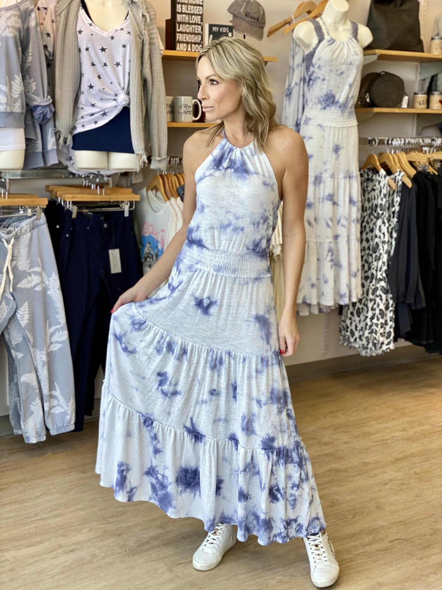 Z Supply Beverly Cloud Tie Dye Dress in Dusty Navy