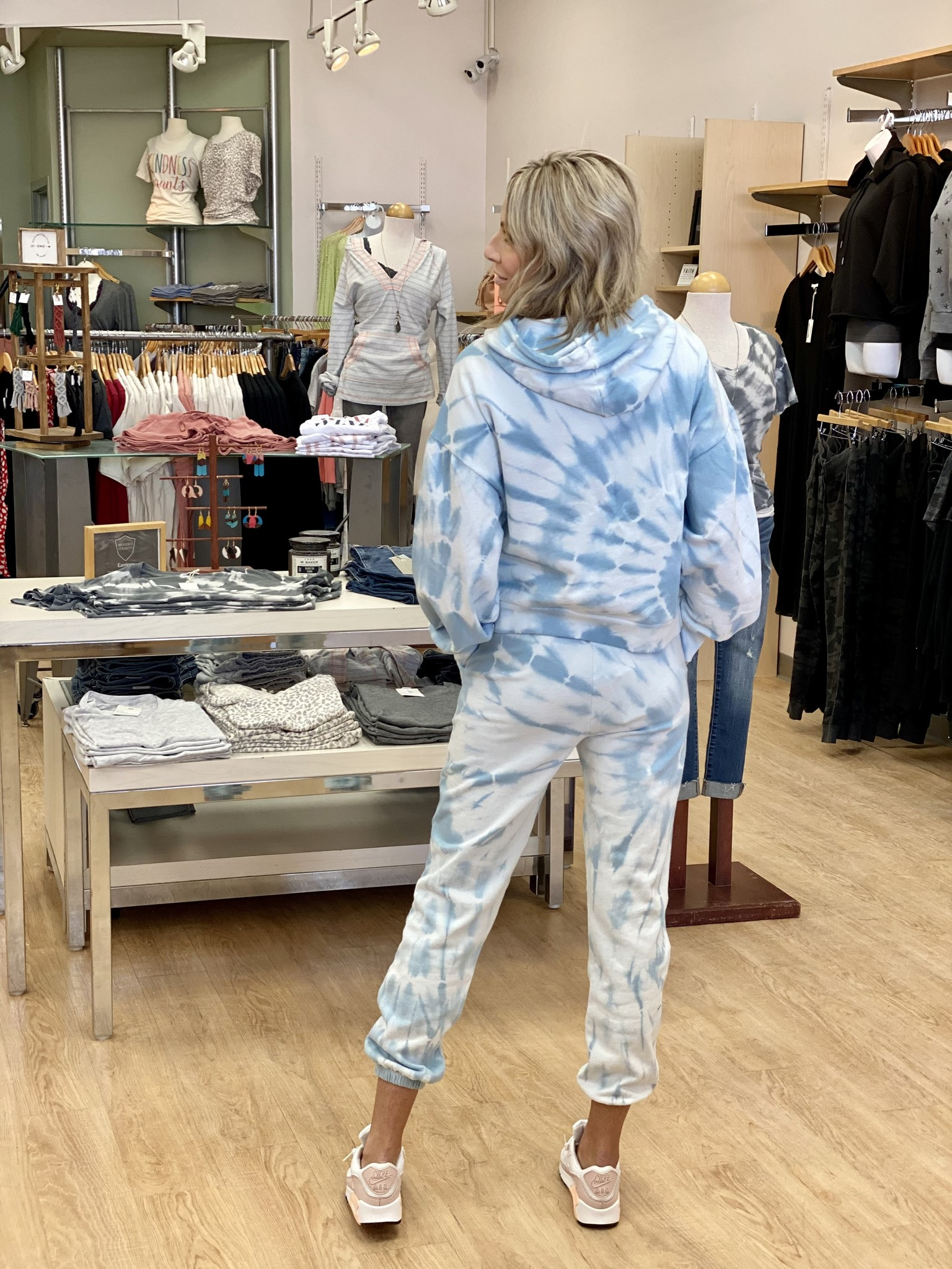 Z Supply Emery Spiral Tie-Dye Jogger Blue Agave