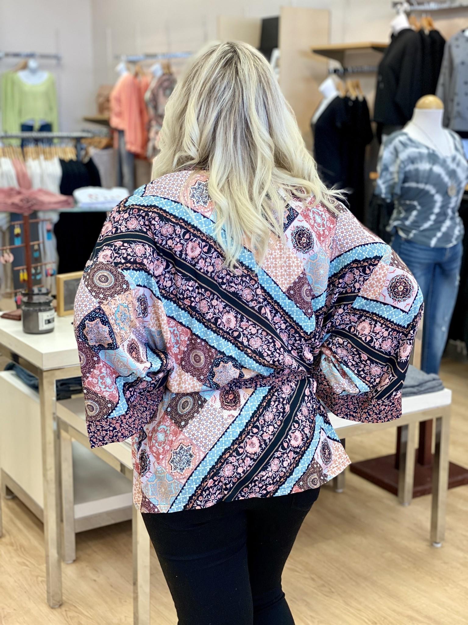 Mystree Multi Floral Print Kimono