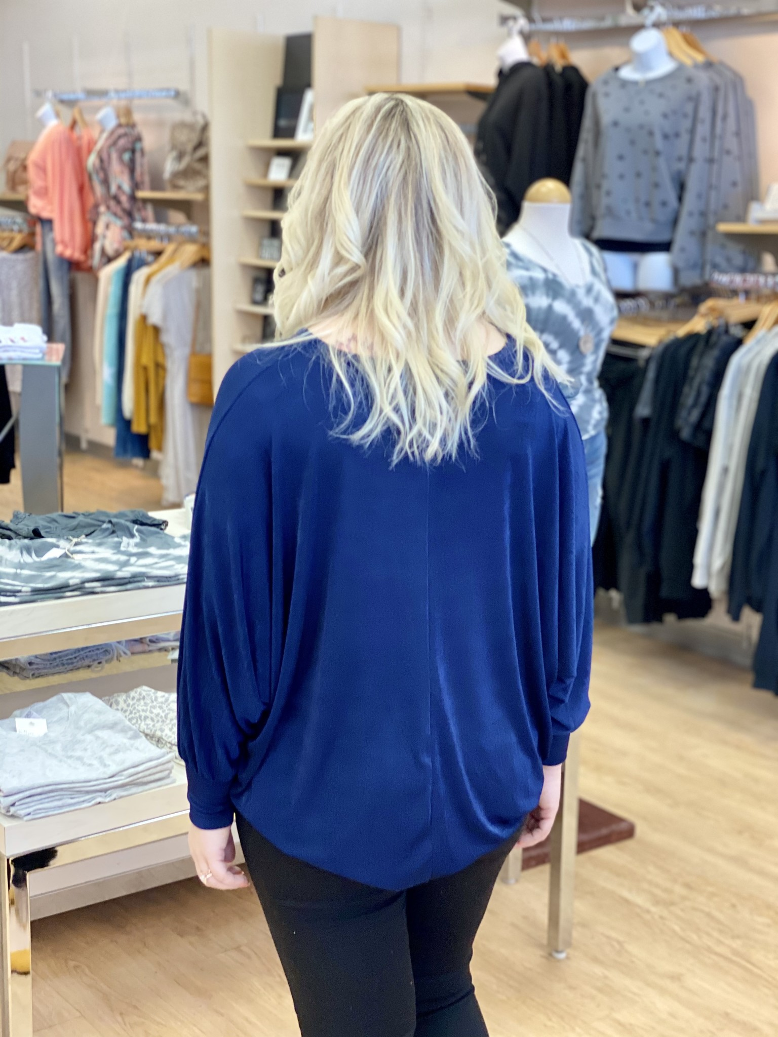 Apricot Navy Knot Front Crepe Jersey Top