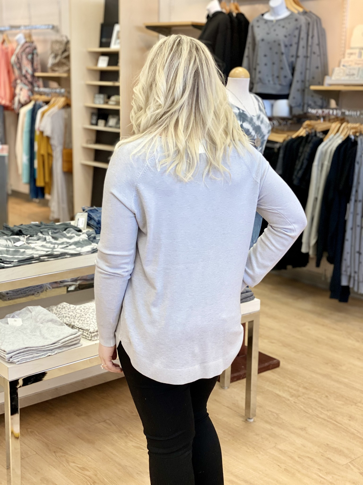 Staccato Boatneck Pullover in Cloud Grey