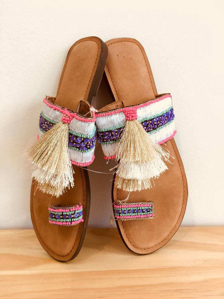 America and Beyond Beaded Tassel Sandal