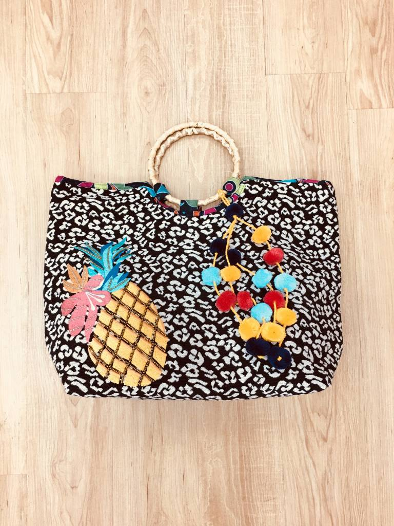 America and Beyond Pineapple Embroidered Bucket Bag