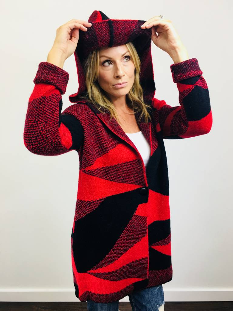 Dex Red/Black Abstract Sweater