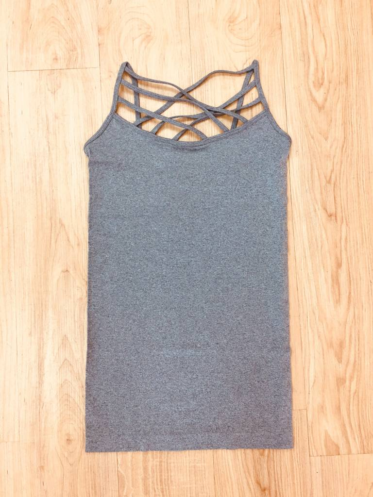 Zenana Seamless Triple Cross Cami H Grey