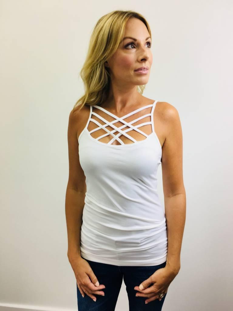 Zenana Seamless Triple Cross Cami White