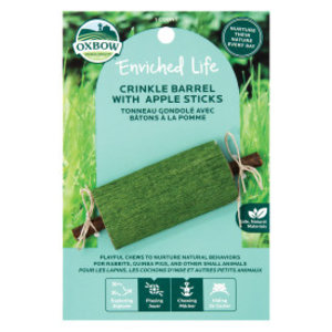 Oxbow Enriched Life Crinkle Barrel Small Animal Toy with Apple Stick